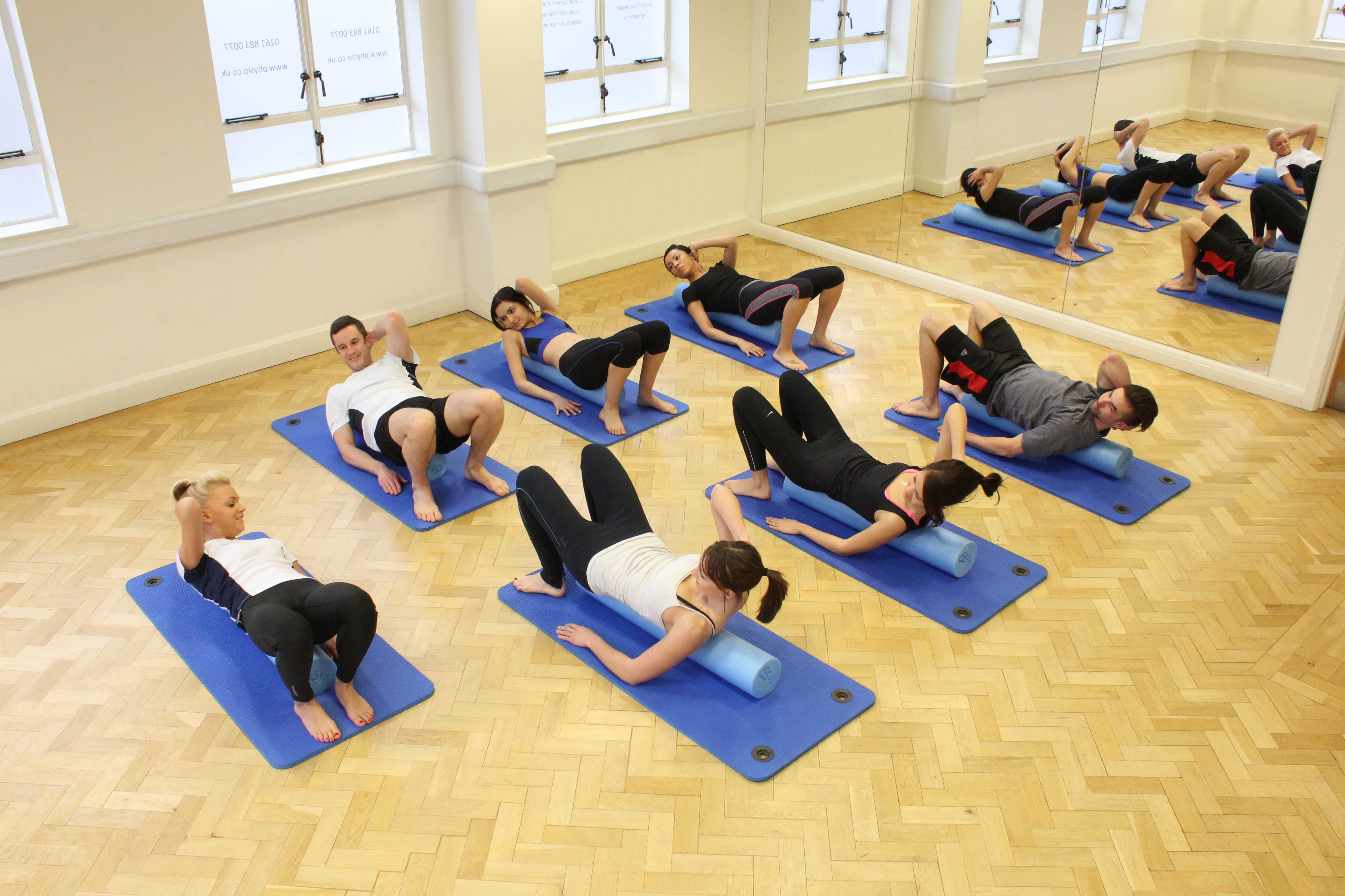 Phyiolates class led by a specialist Pilates qualified physiotherapist