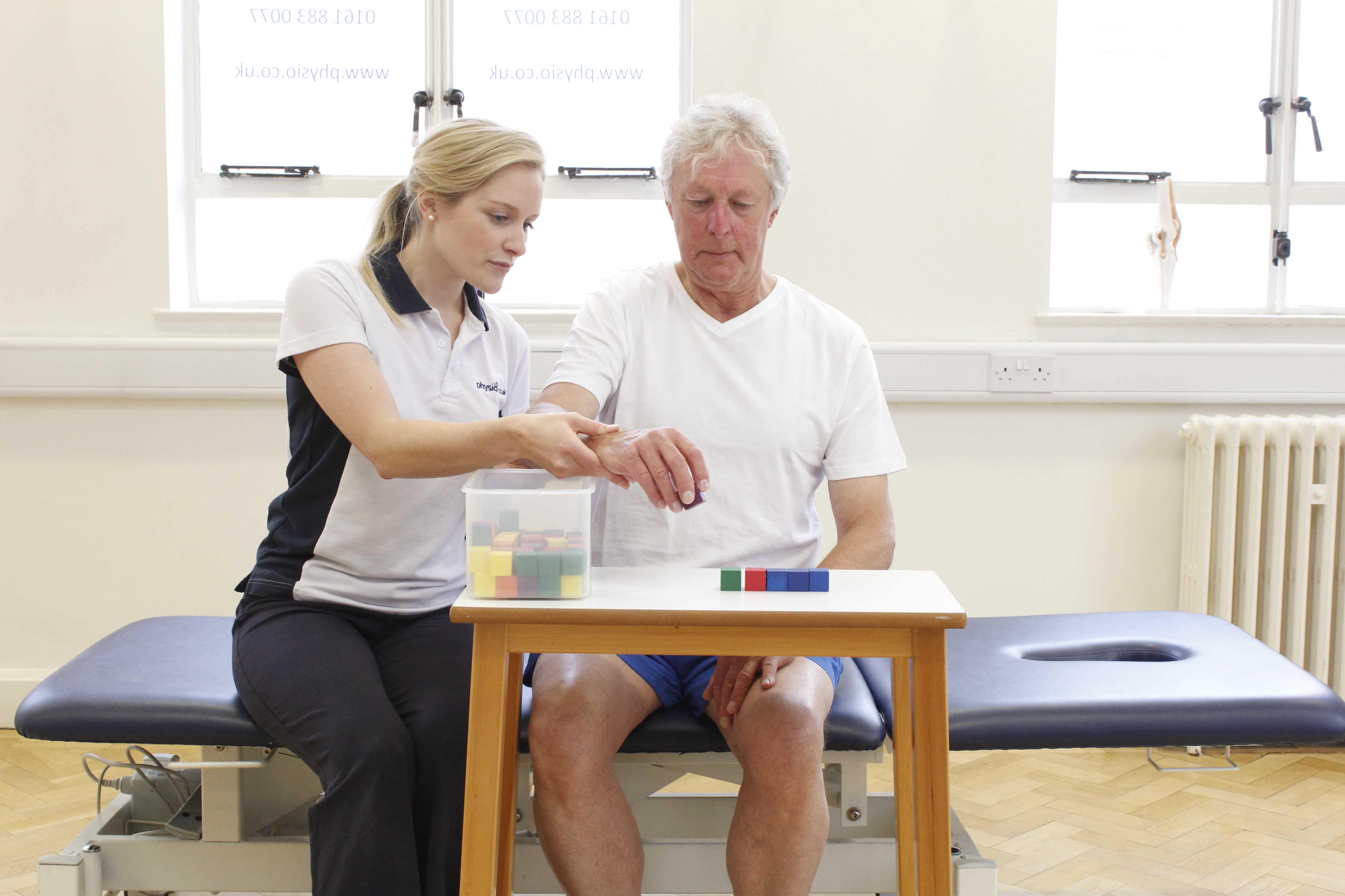 Fine motor skills and co-ordination exercises supervised by a neurological physiotherapist