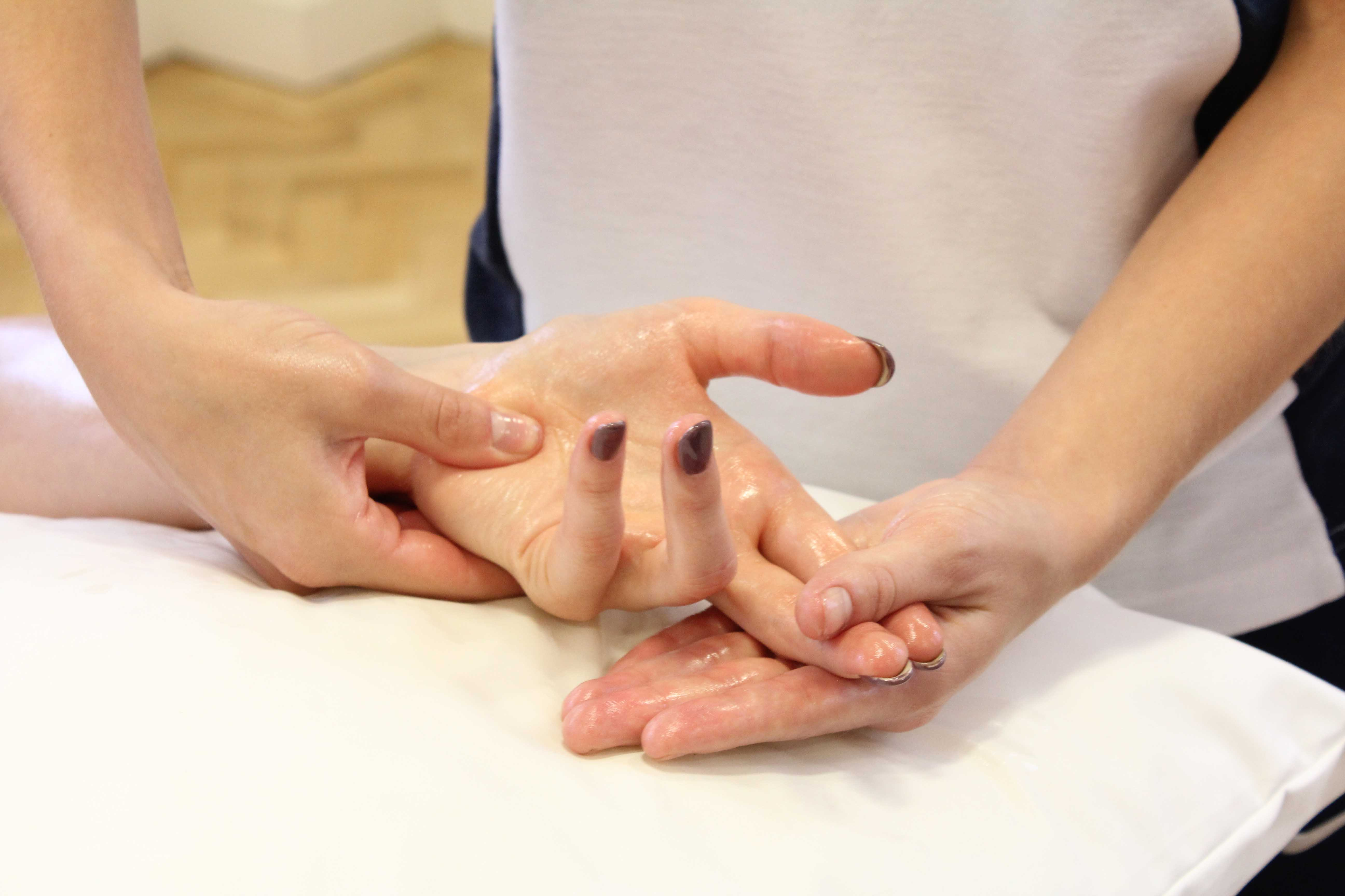 Soft tissue massage and mobilisations of the hands and fingers to alleviate pain and stiffness