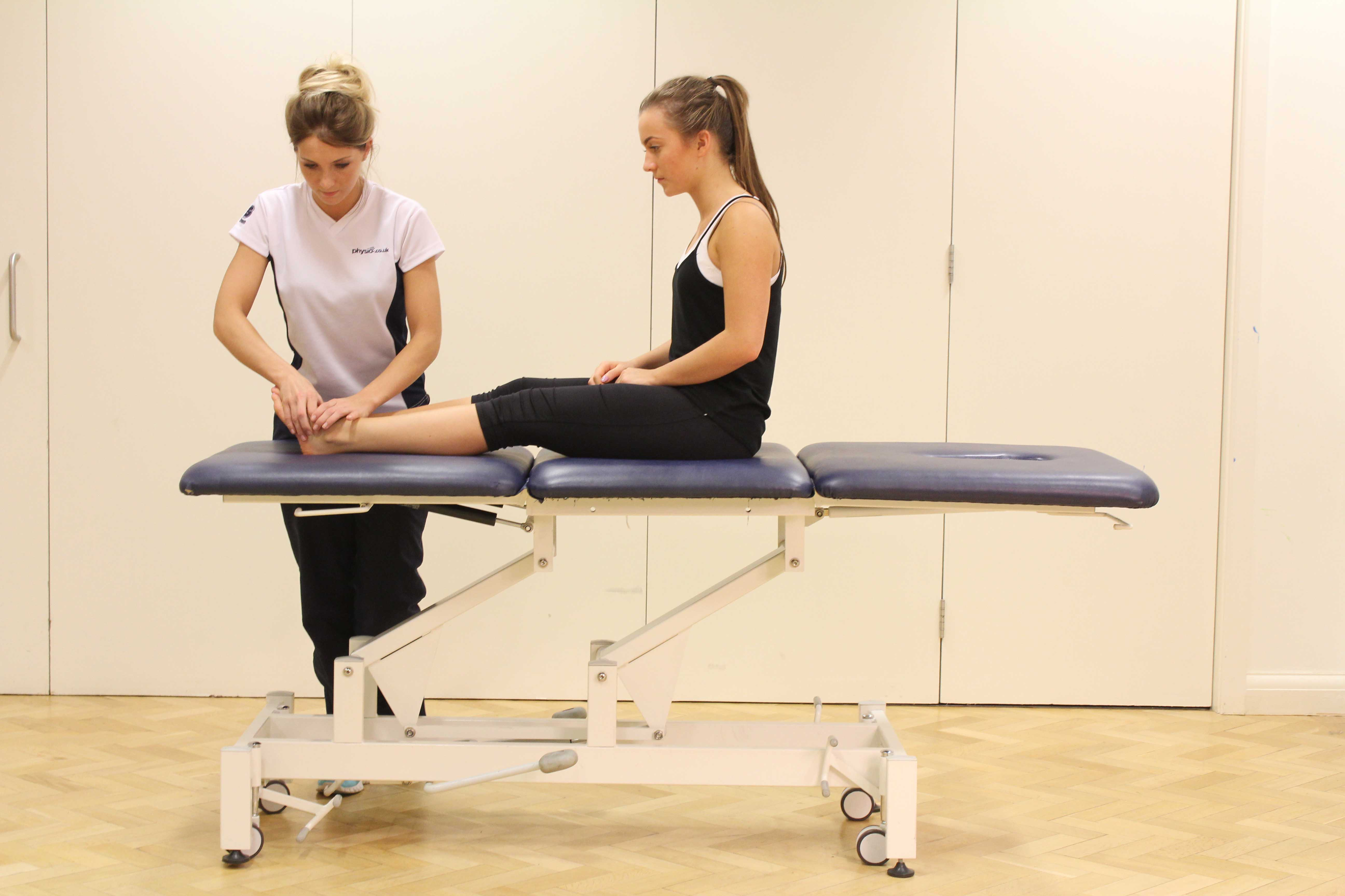 Mobilisations and stretches applied to the connective tissues in the ankle