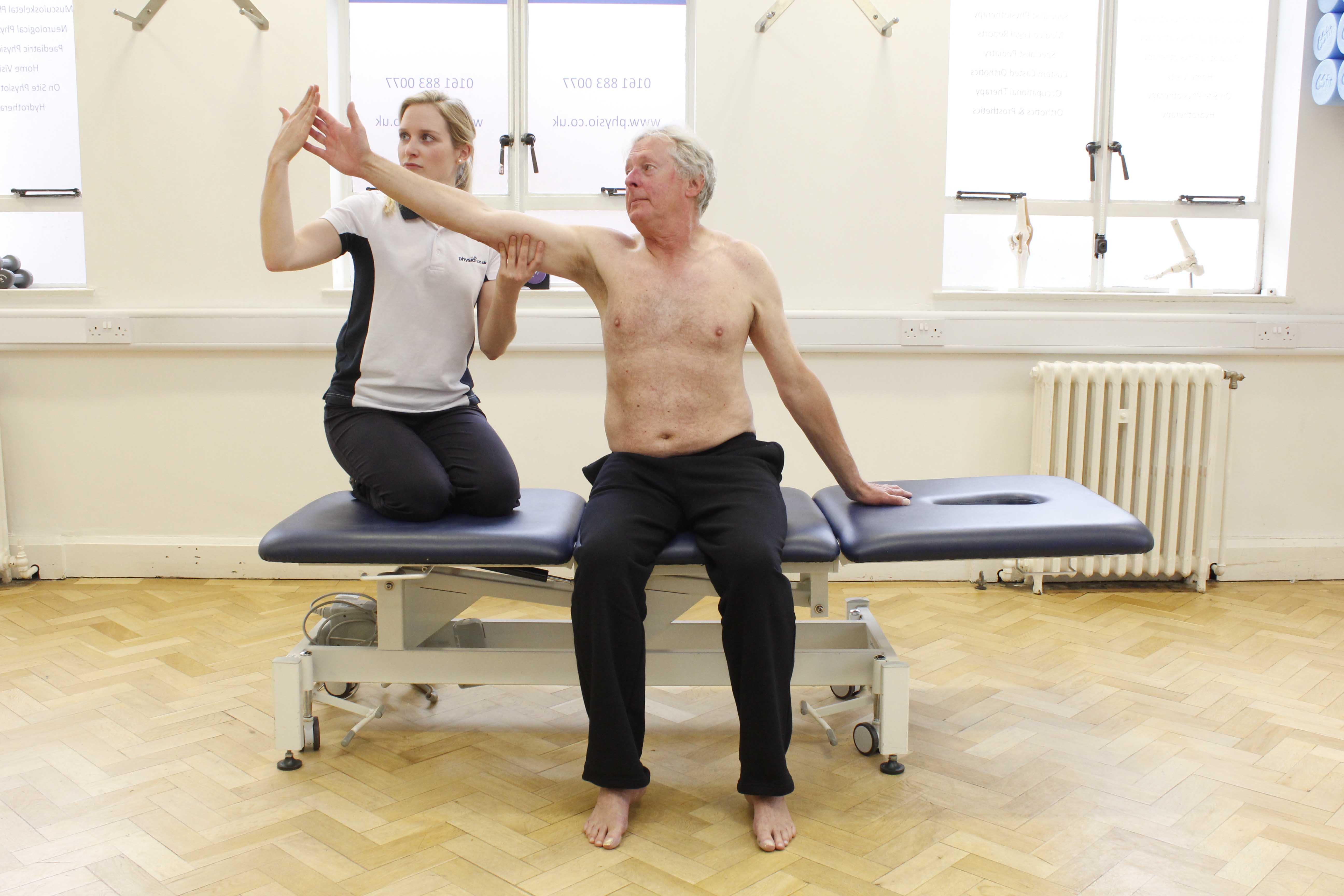 Reaching balance exercises supervised by an experienced neuro physiotherapist