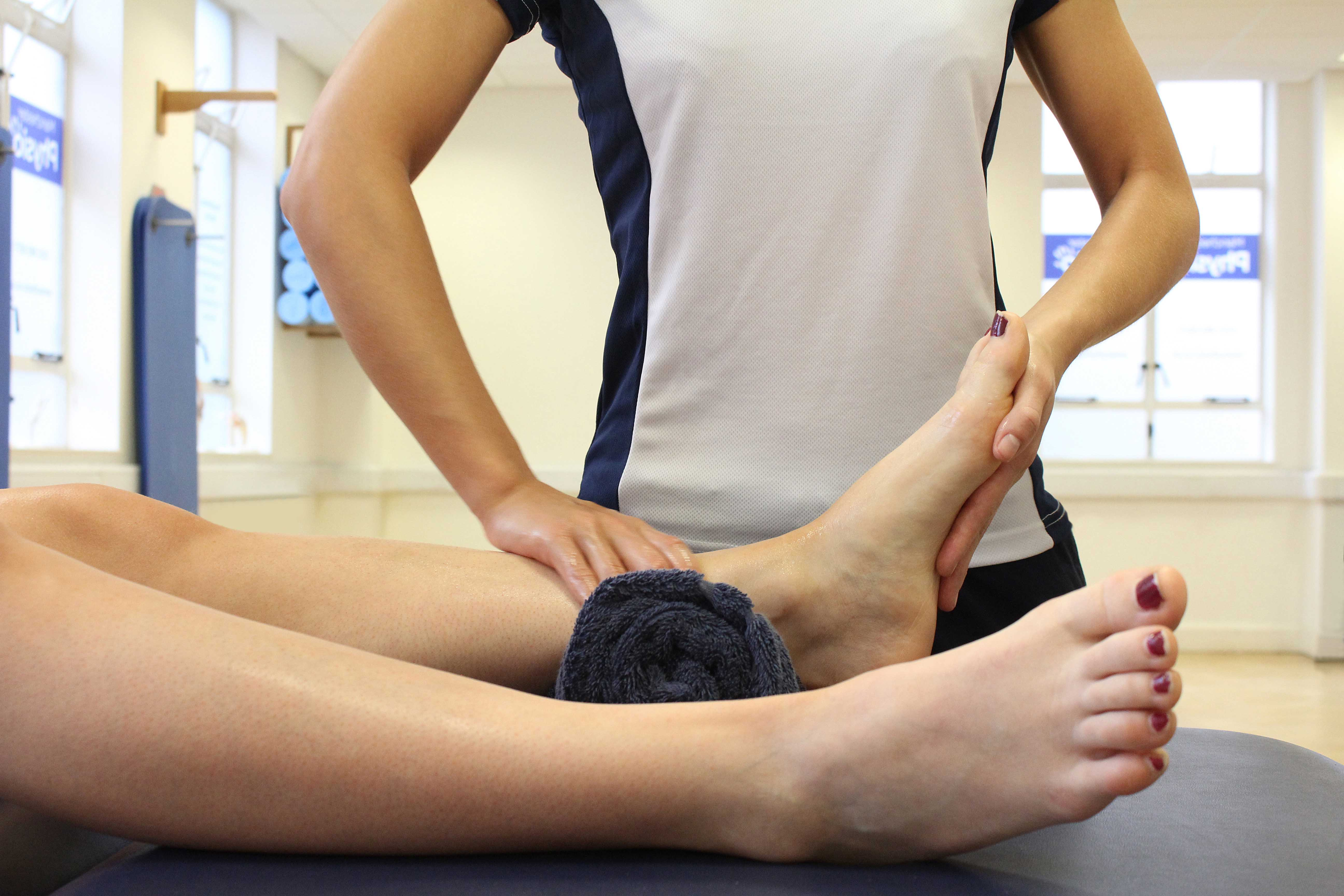 Ankle stability exercises supervised by an experienced physiotherapist