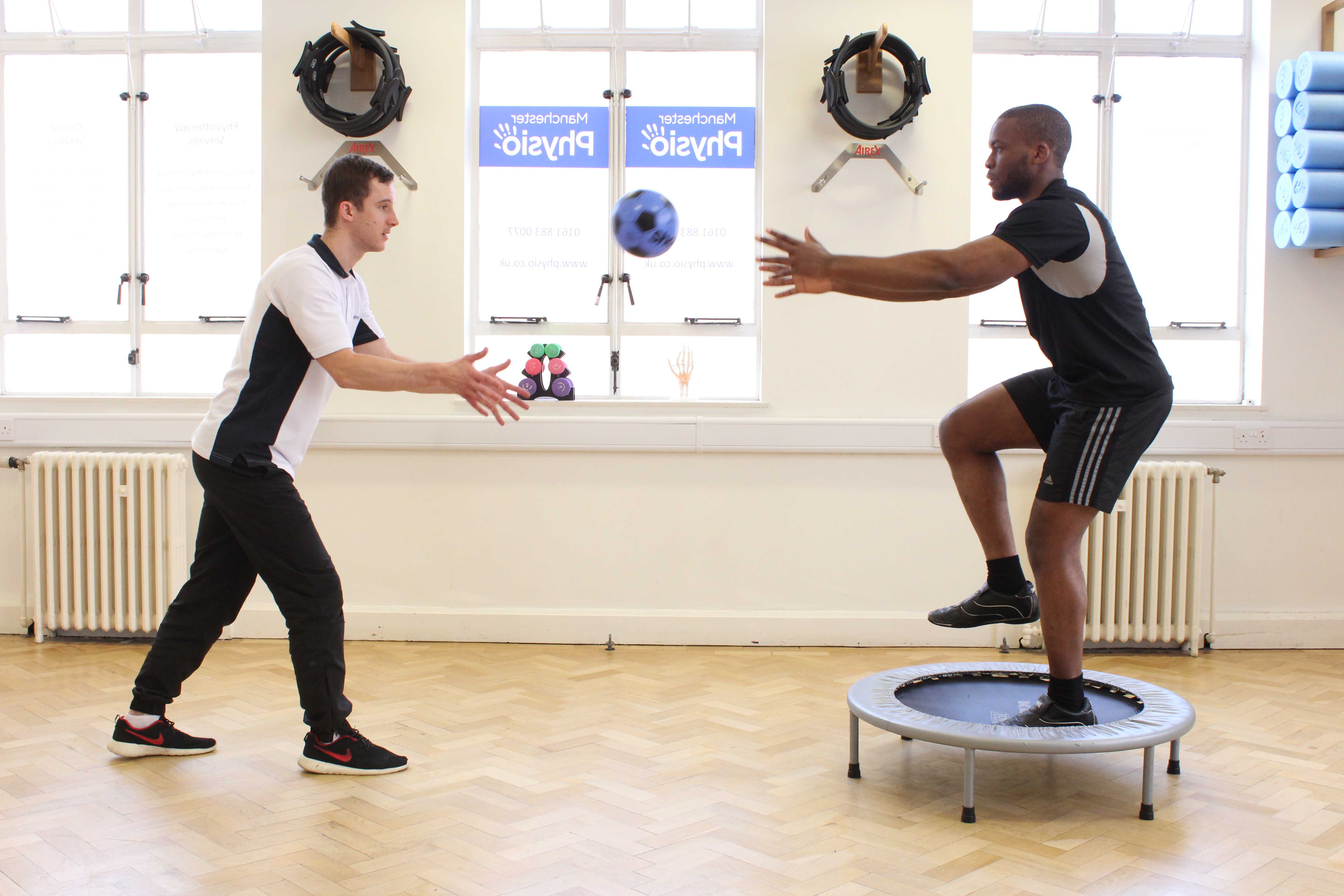 Dynamic stability and balance exercises assisted by specialist physiotherapist