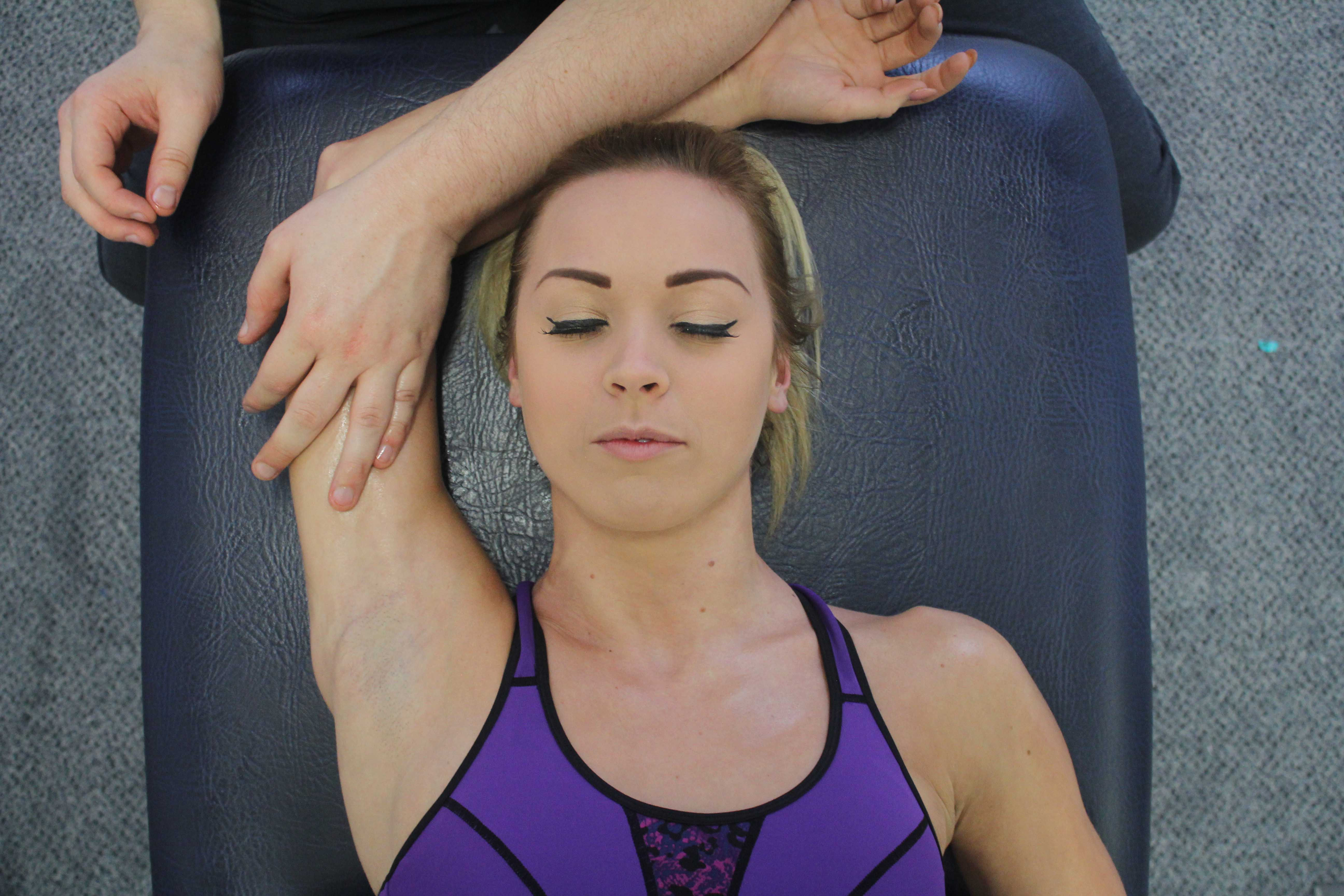 Gentle massage can help in the treatment for a bicep muscle tear.