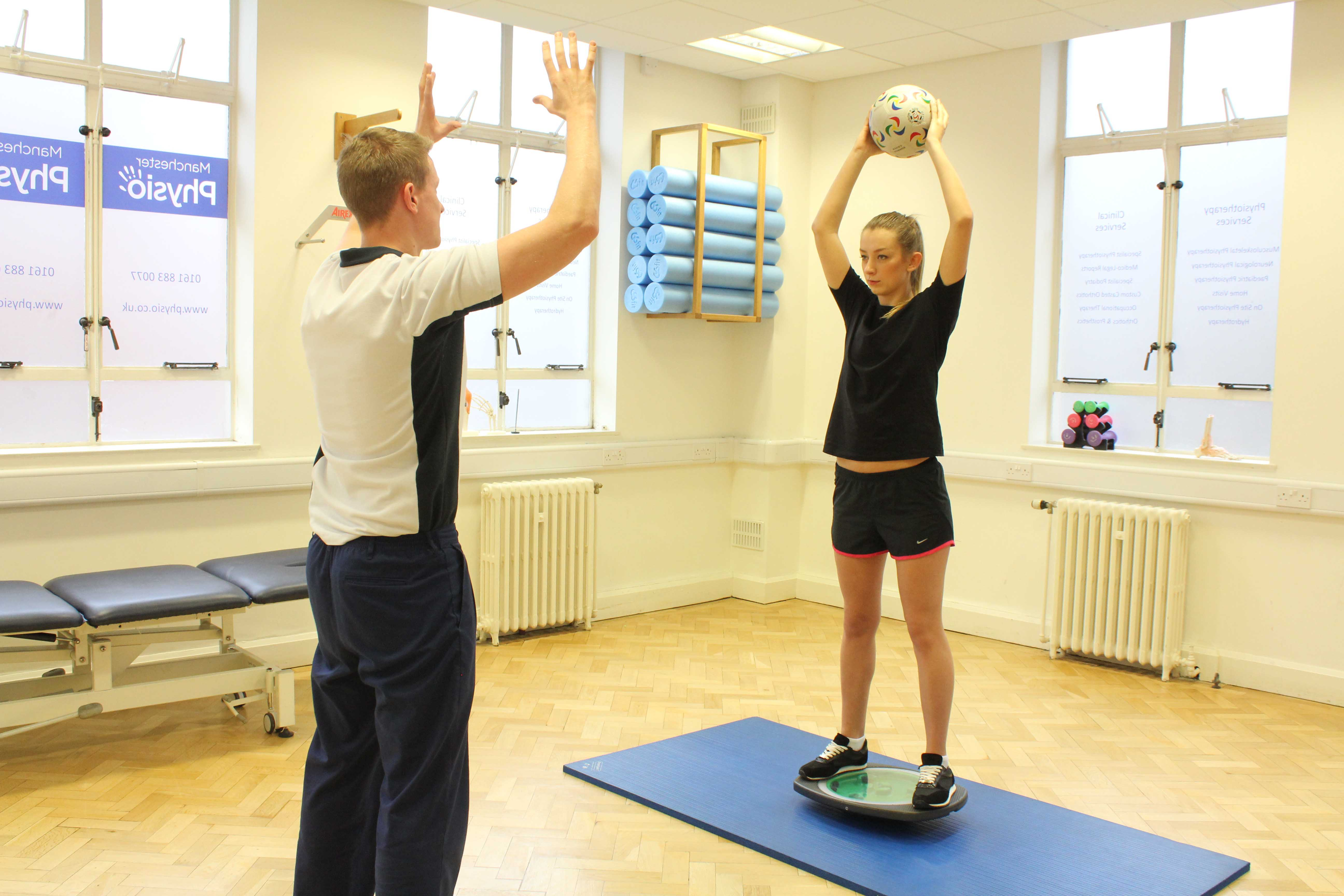Knee stability exercises conducted by experienced physiotherapist