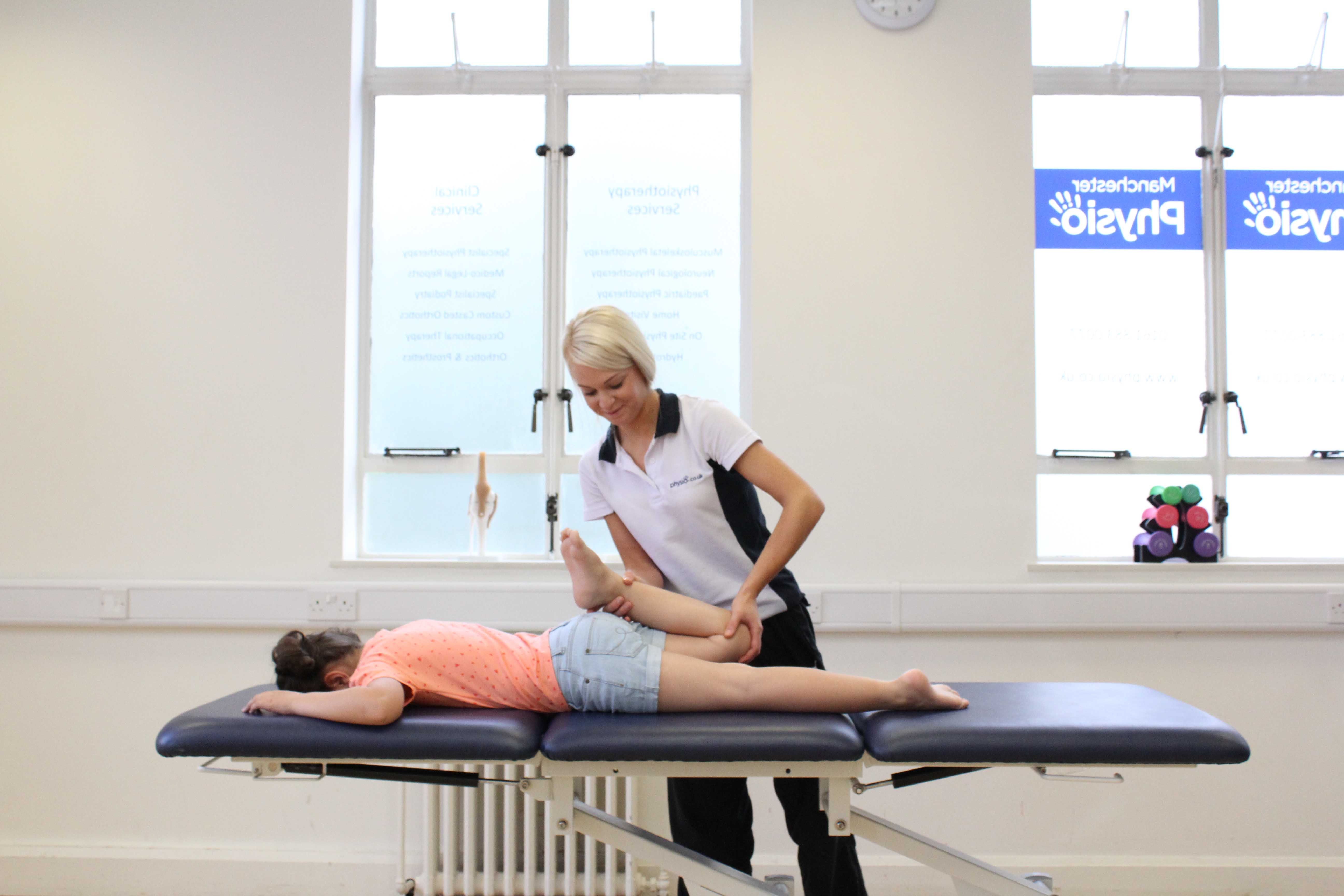 Stretch and mobilisation exercises applied to the lower limbs by an experienced physiotherapist