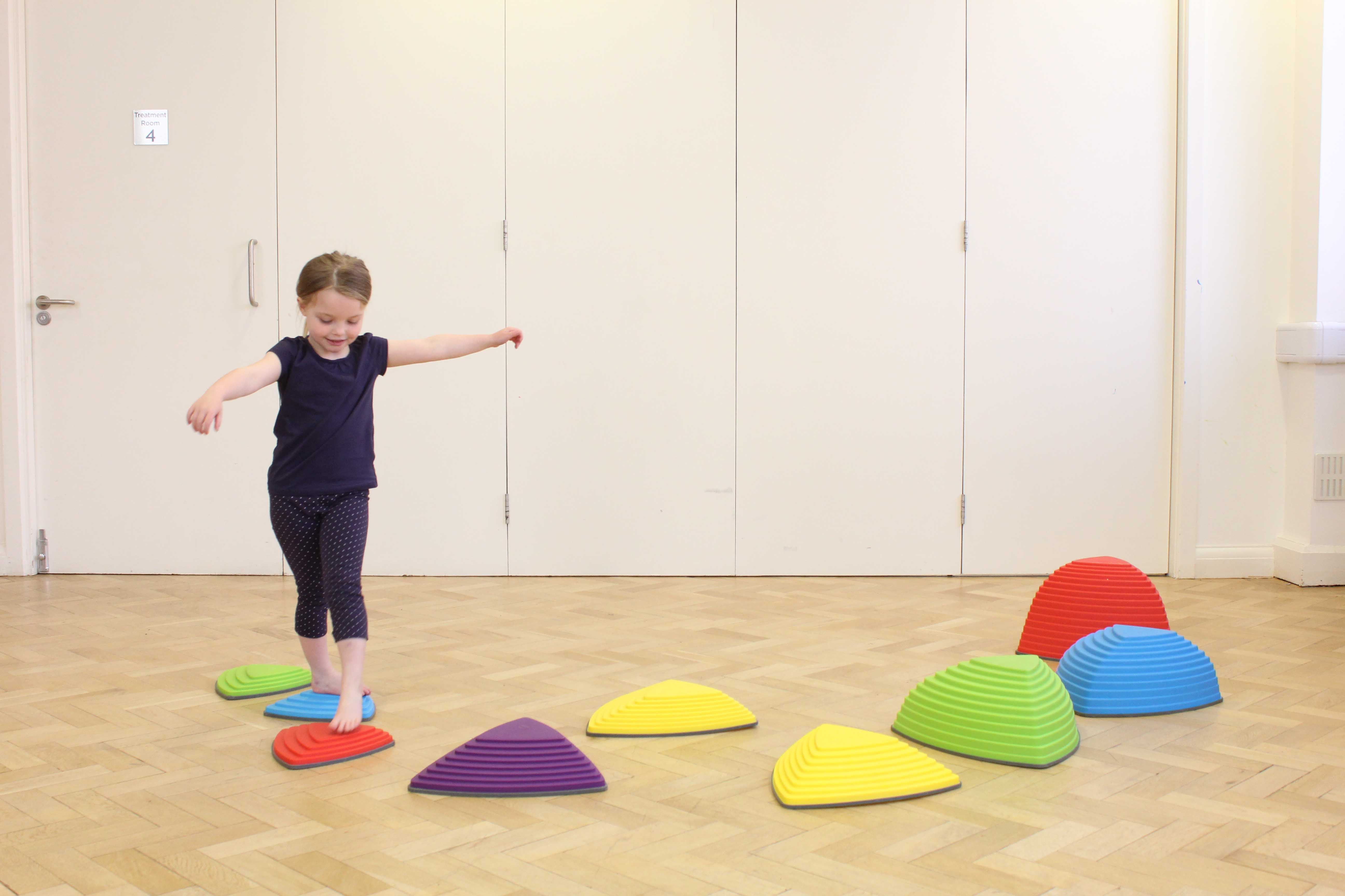 balance and stability exercises supervised by a paediatric physiotherapist