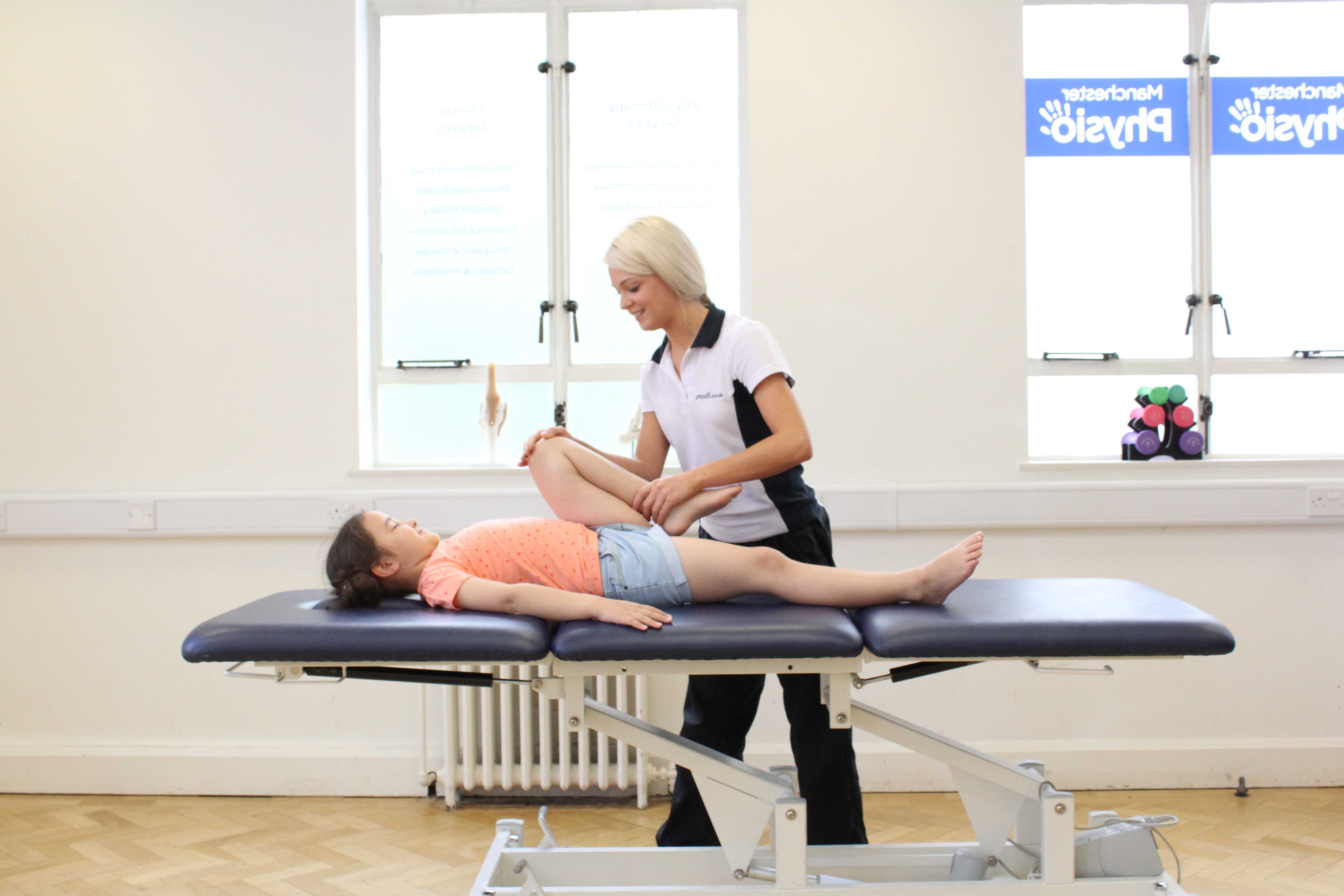 Mobilisations and stretches of the hip and knee to improve flexibility