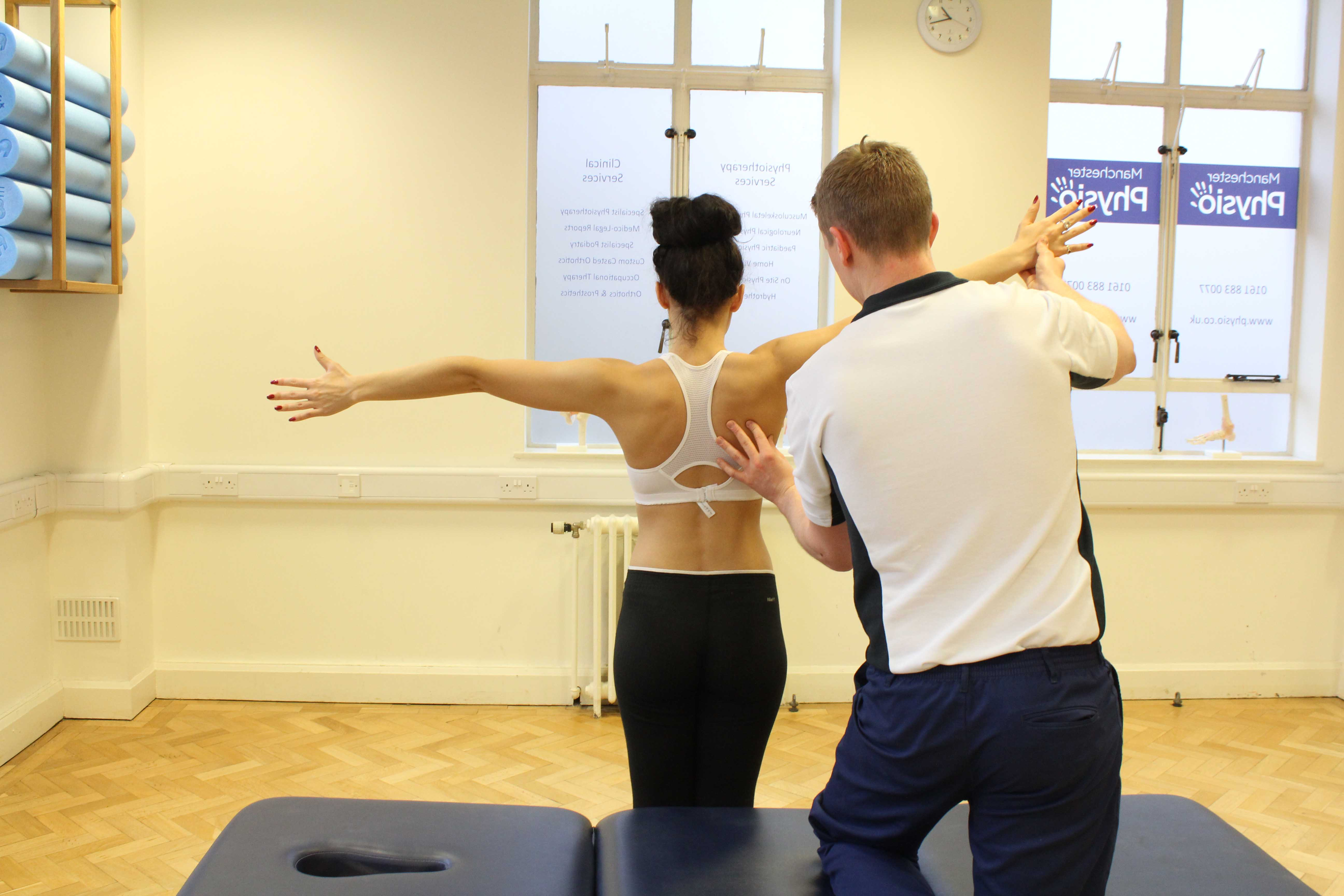 Scapular movement assessment by experienced MSK Physiotherapist