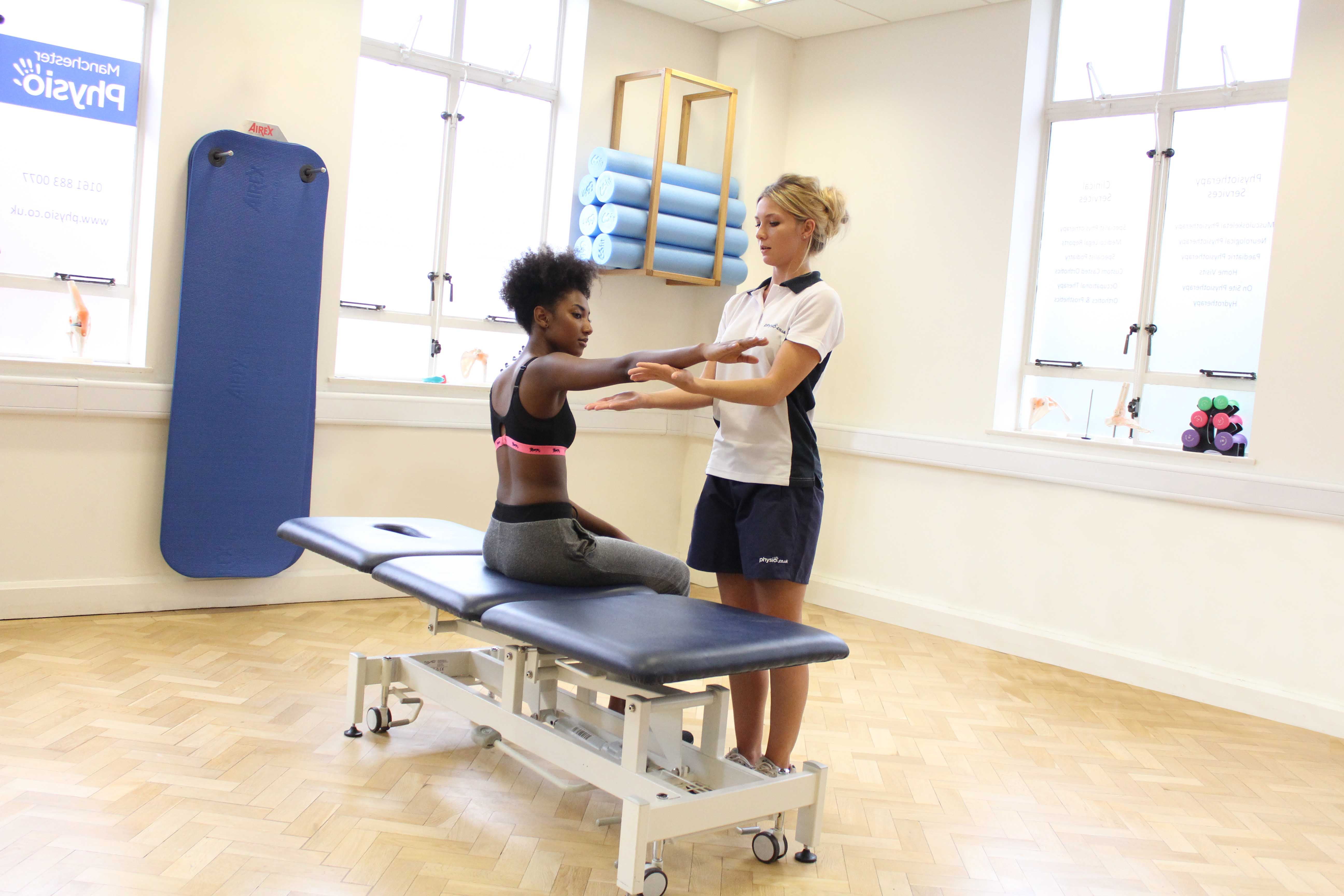 Active stretches and mobilisation of the elbow with MSK therapist supervision.