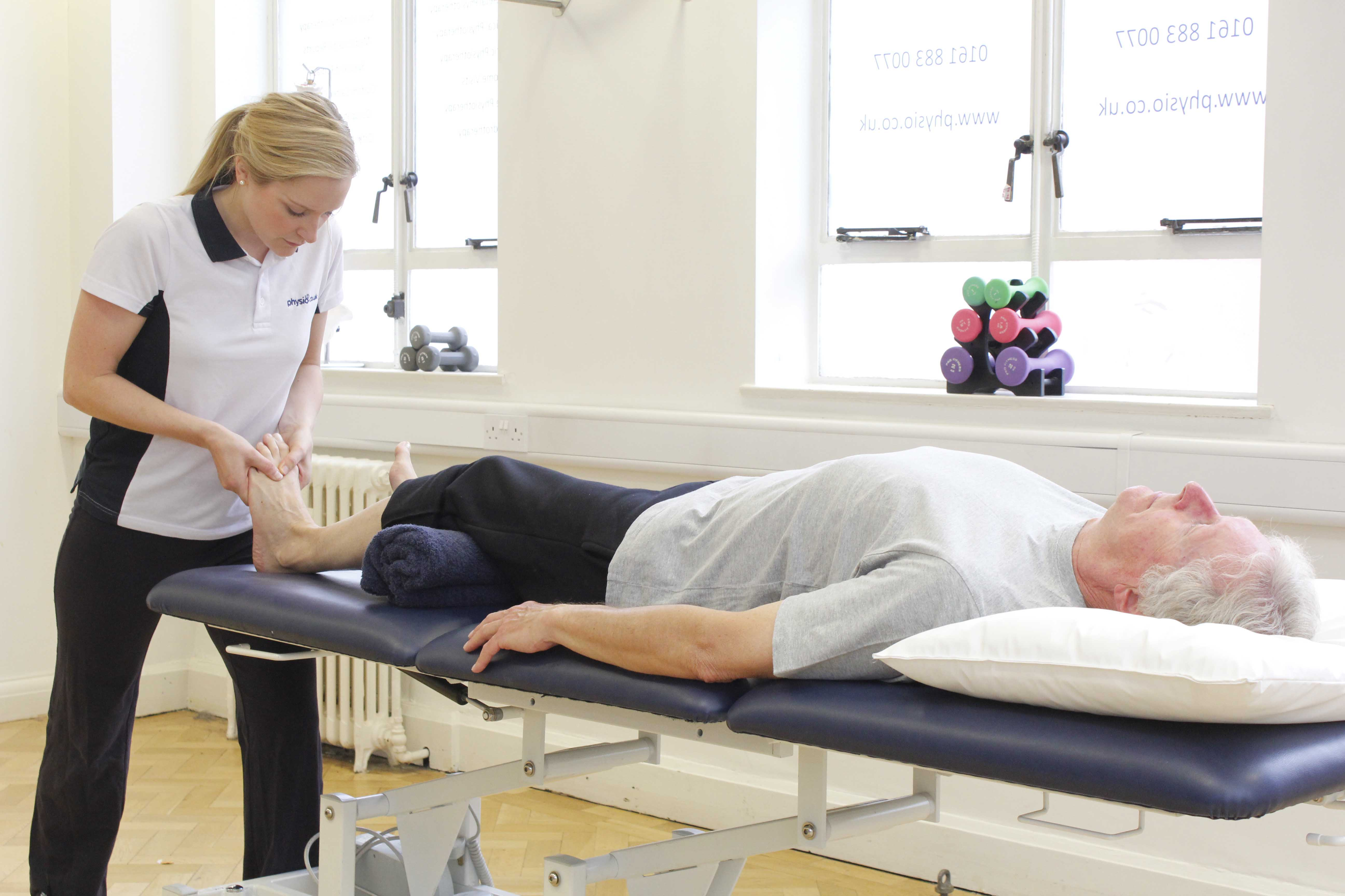 Massage and mobilisation exercises of the foot and ankle to relieve symptoms of pain and stiffness