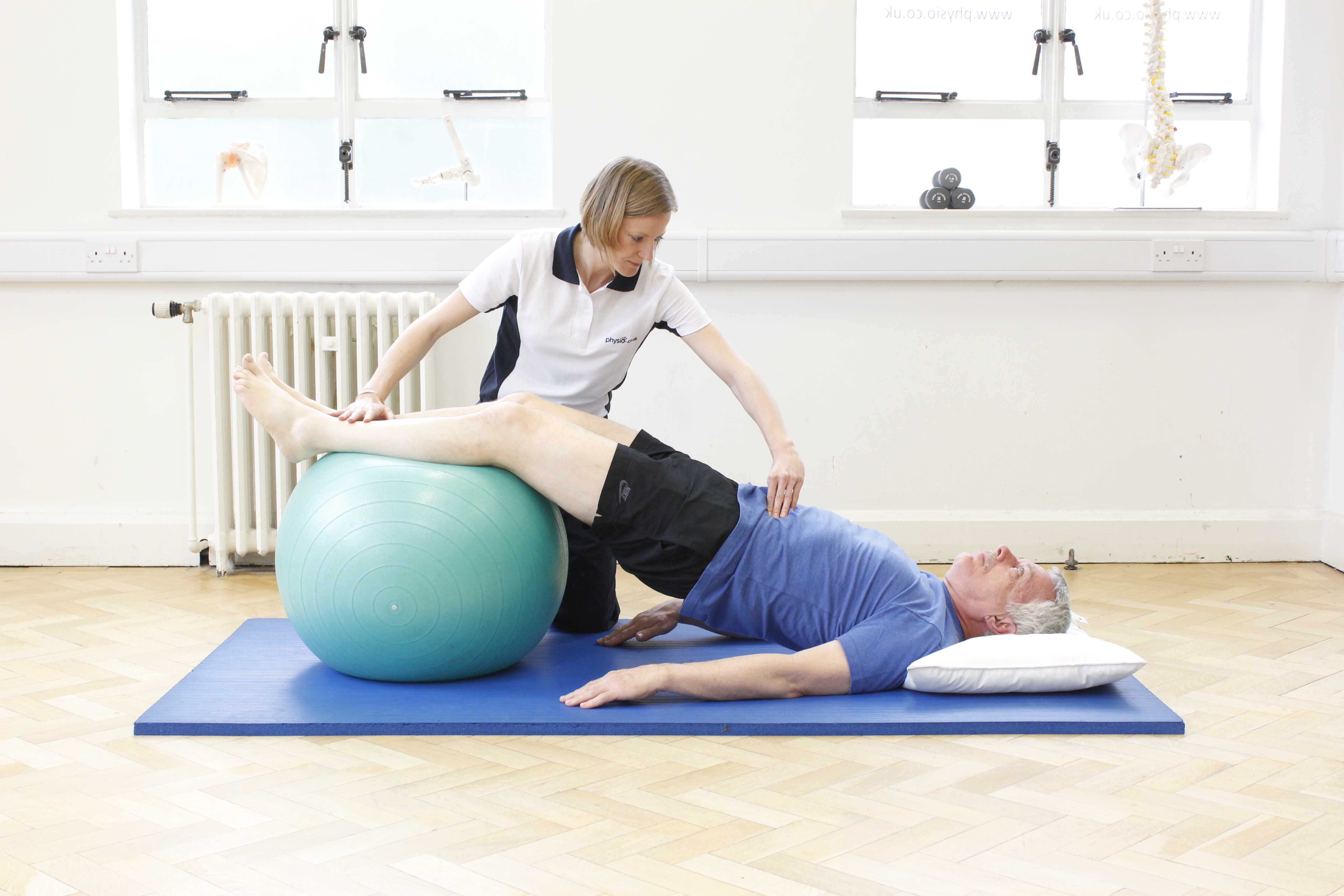 Core stability and proprioceptive awareness exercises supervised by a neurological physiotherapist