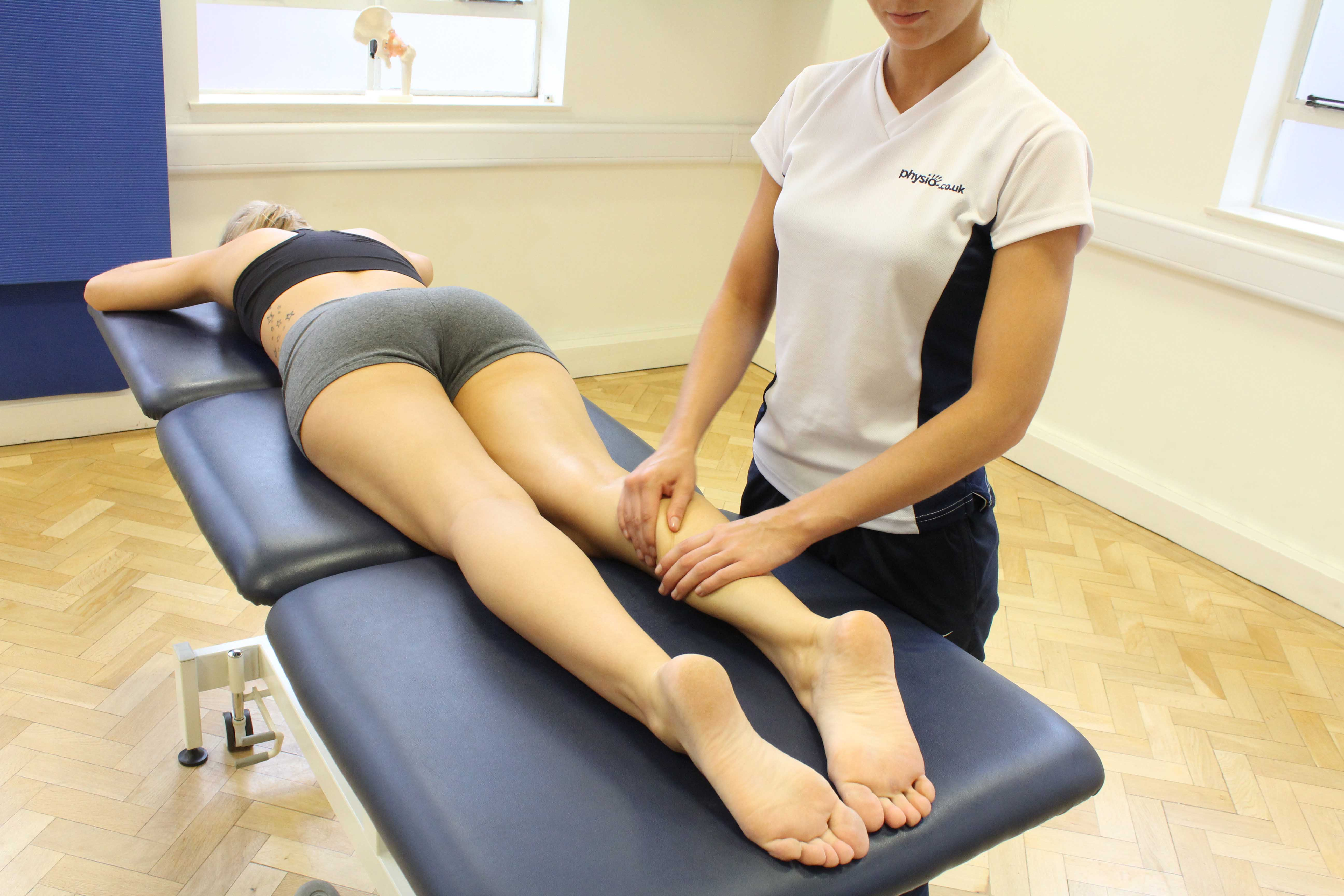 Rolling soft tissue massage of the gastrocnemius muscle