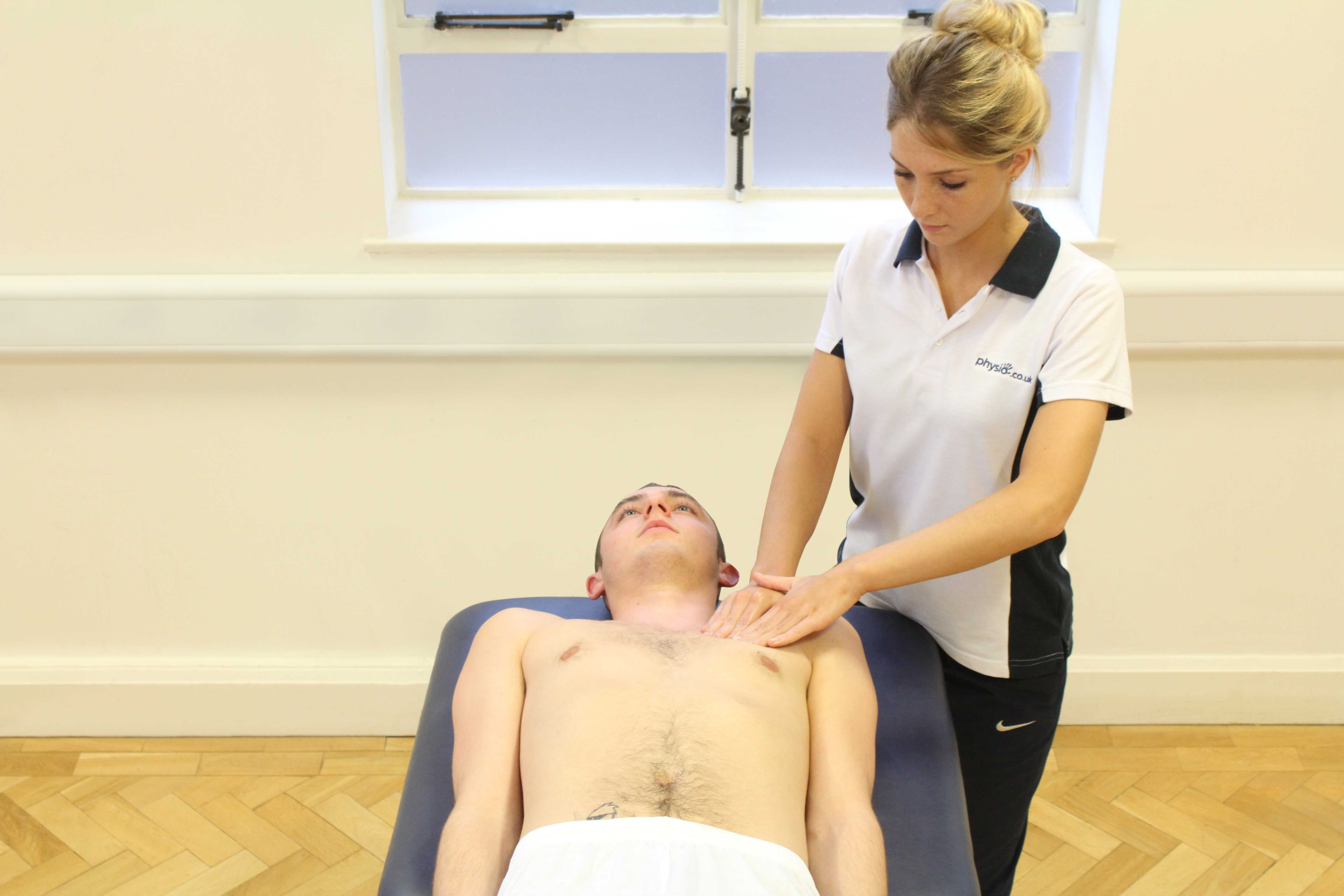 Soft tissue massage of the clavicle and surrounding connective tissue