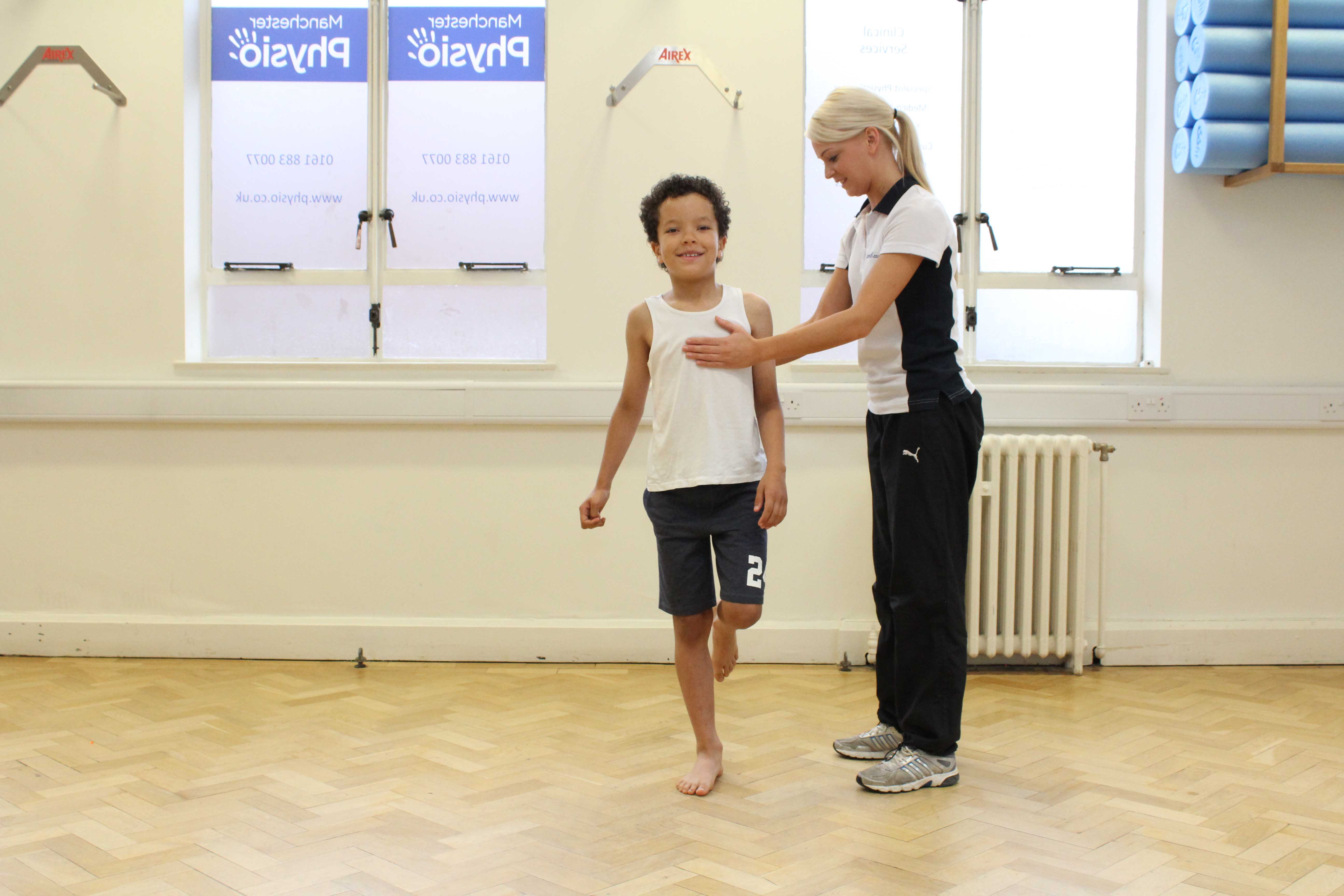 Balance and stability exercises supervised by experienced paediatric physiotherapist
