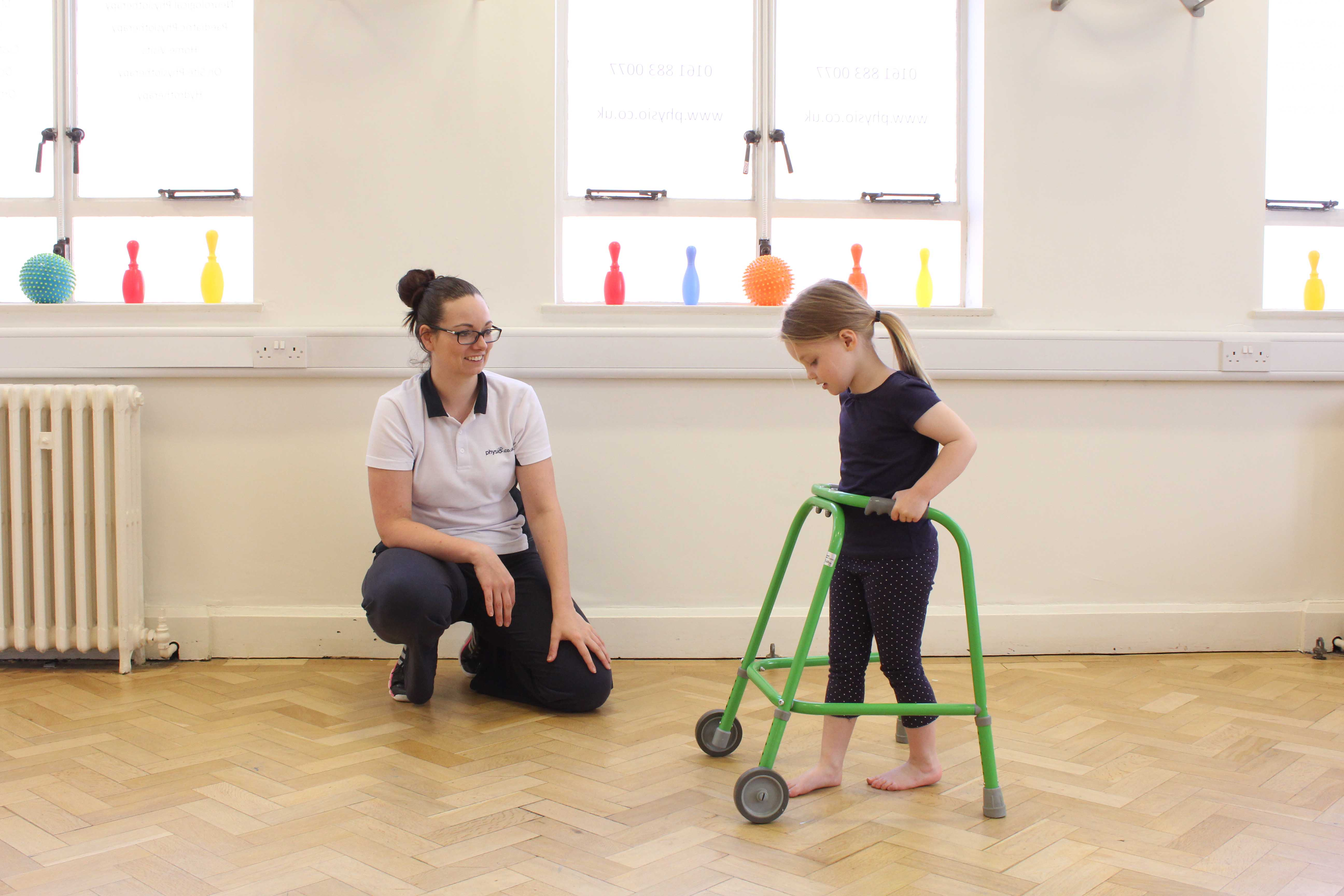 Gait re-education exercises supervised by experienced physiotherapist