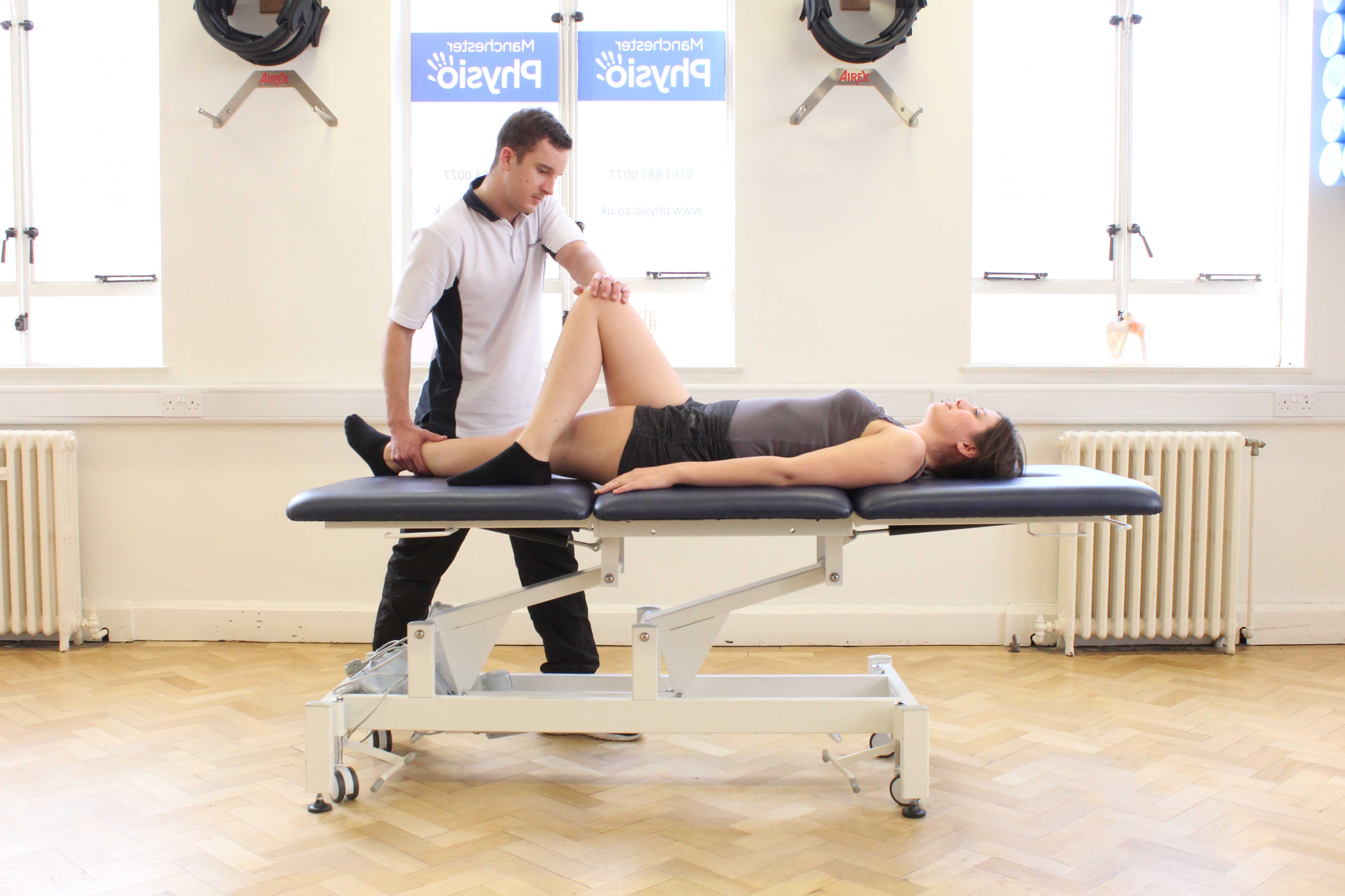 Passive stretches of the groin and pelvic muscles with supervision from a MSK therapist