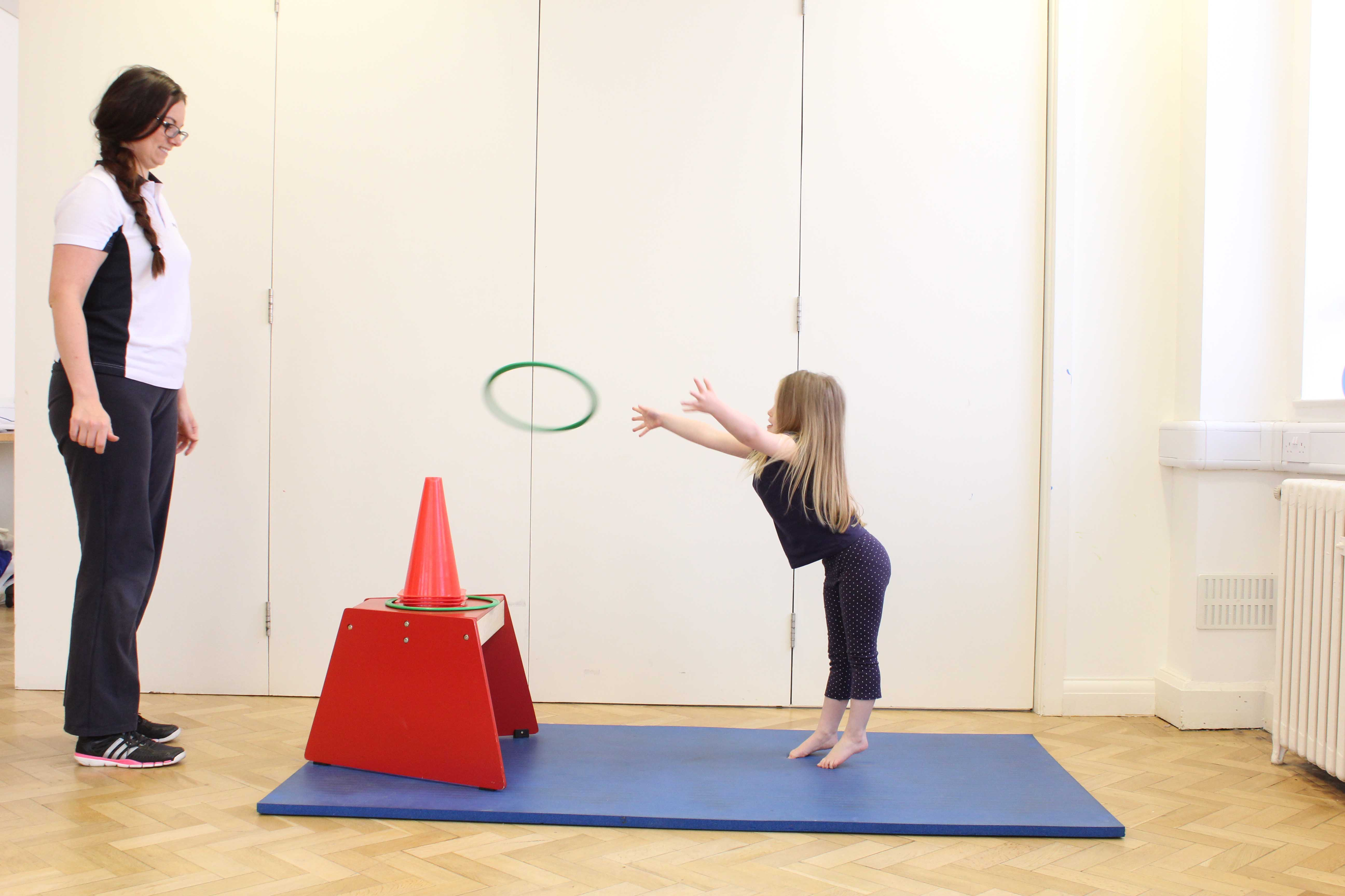 Functional mobility exercises assisted by an experienced paediatric physiotherapist