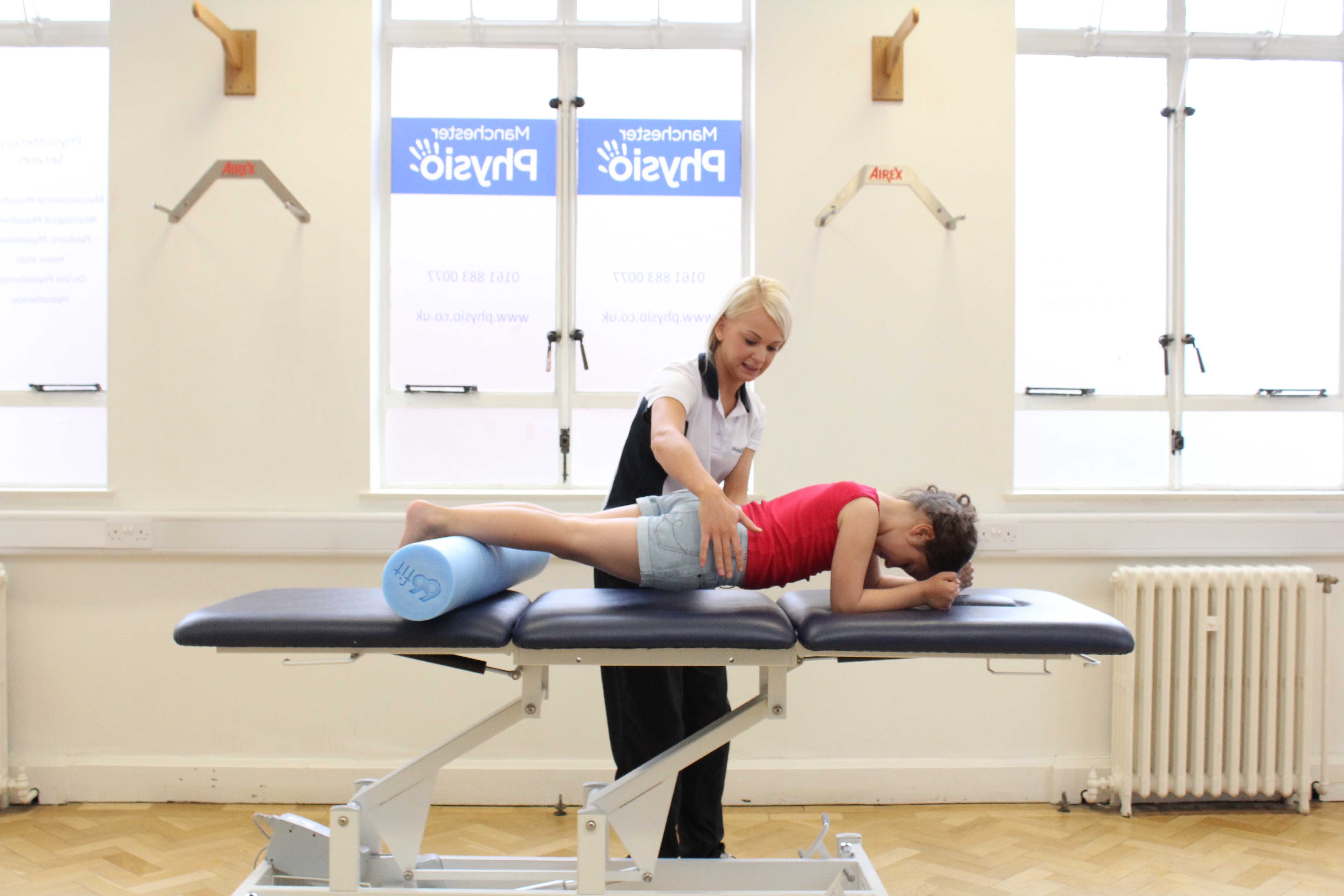 Planking exercise to raise tone in patient core muscles