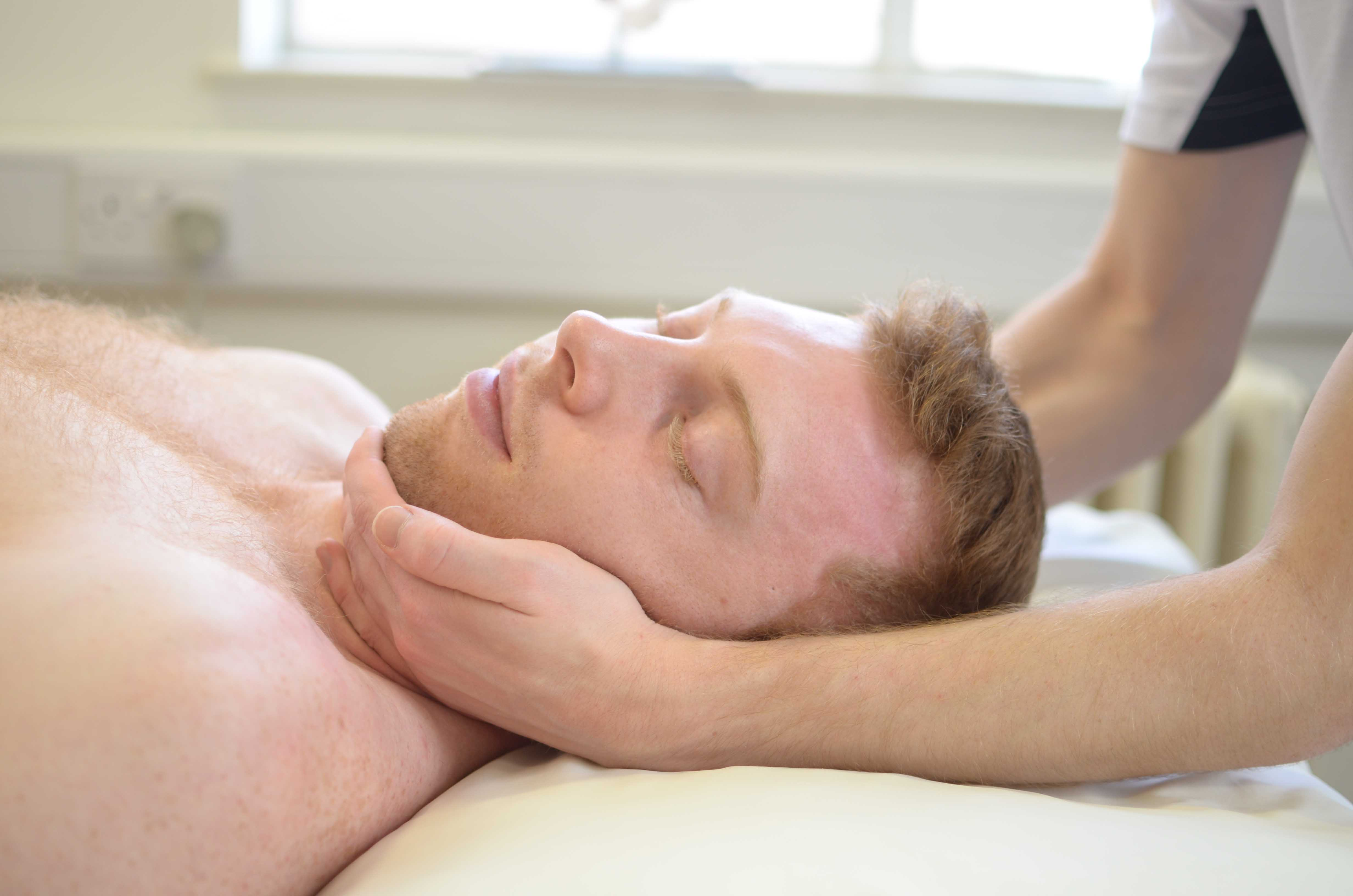 Massage and mobilisations of the jaw to releive stiffness and aching
