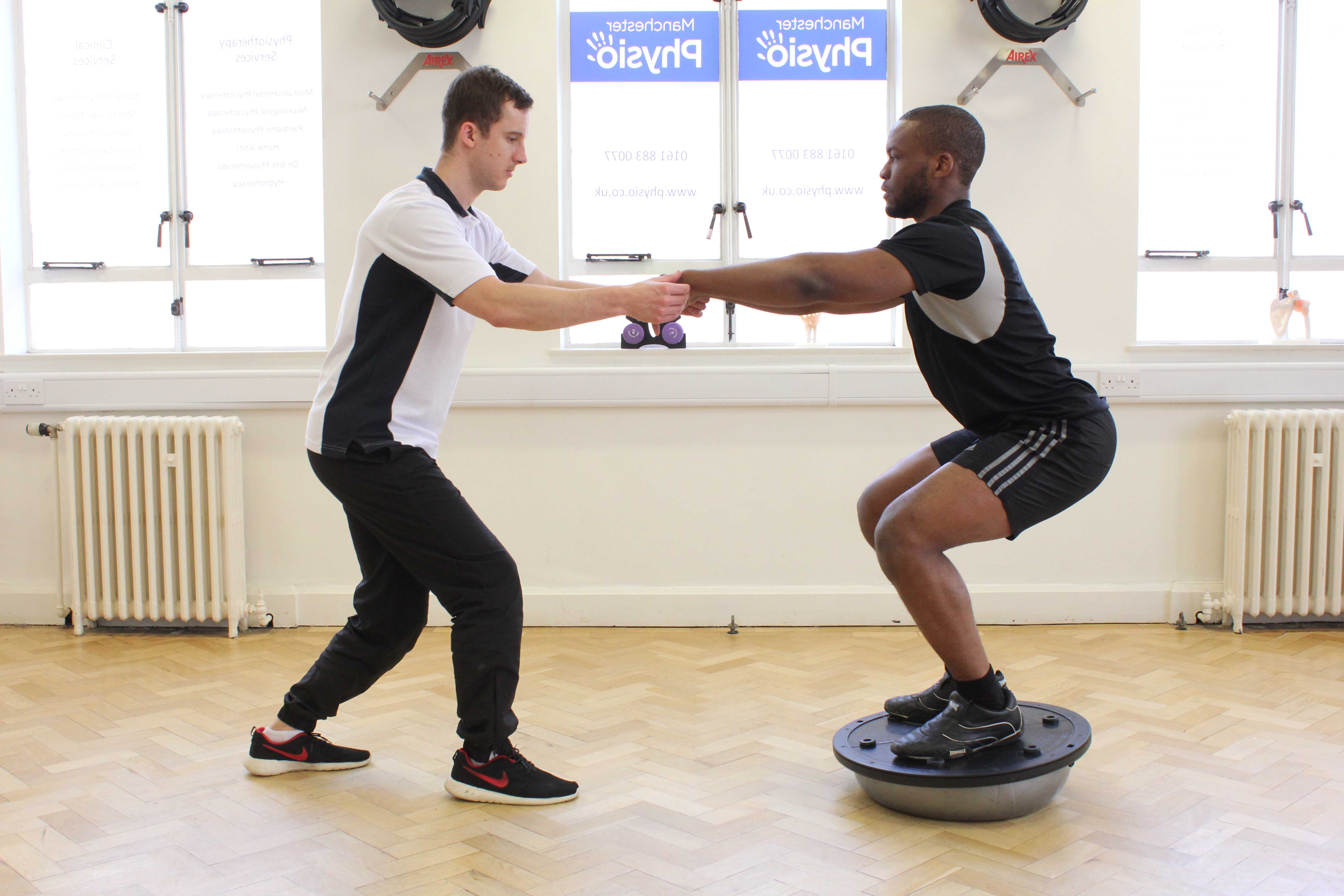 Stability and strength training for the knee, supervised by a MSK Physiotherapist