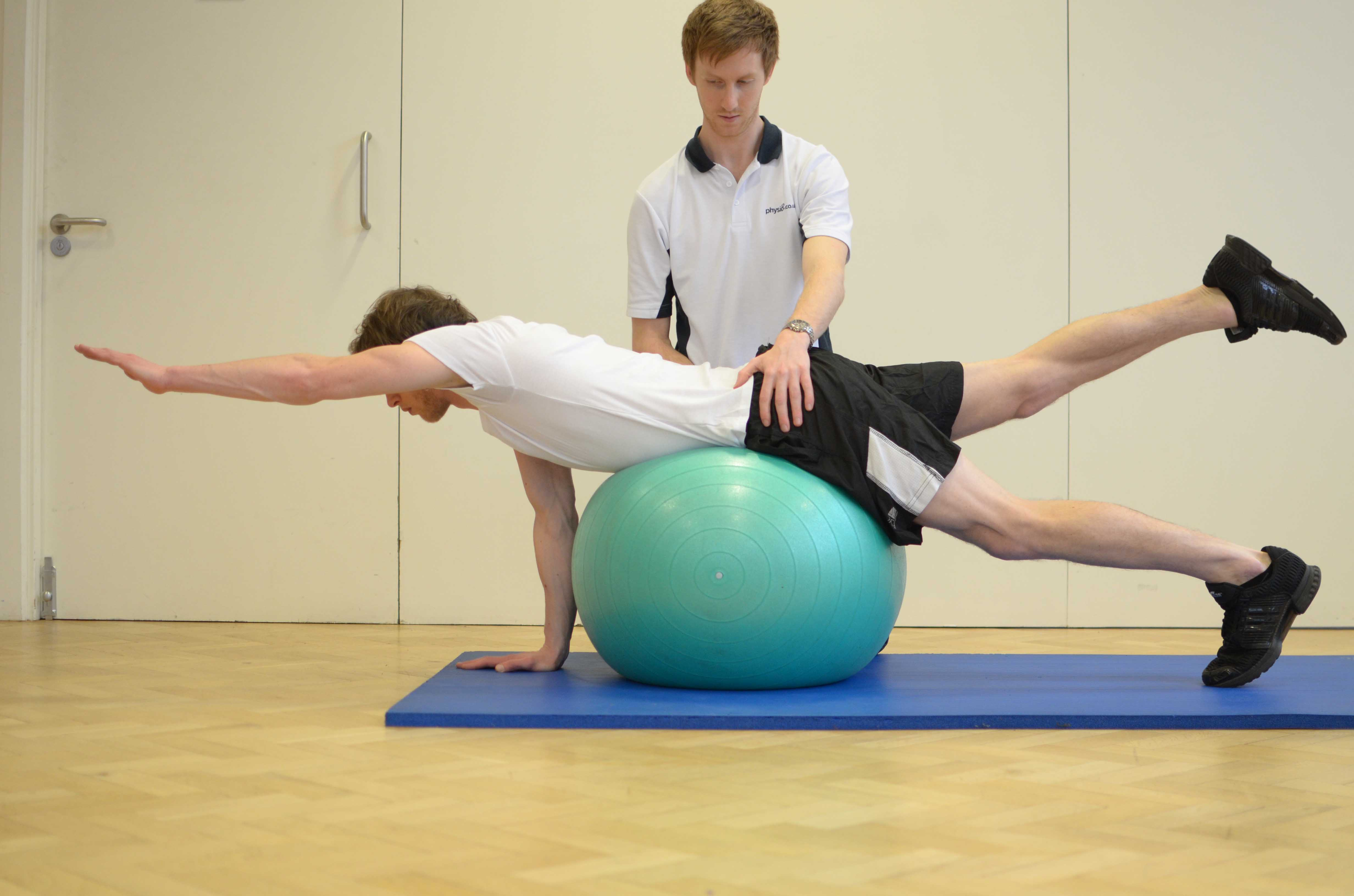Lower back strengthening exercises supervised by Physiotherapist