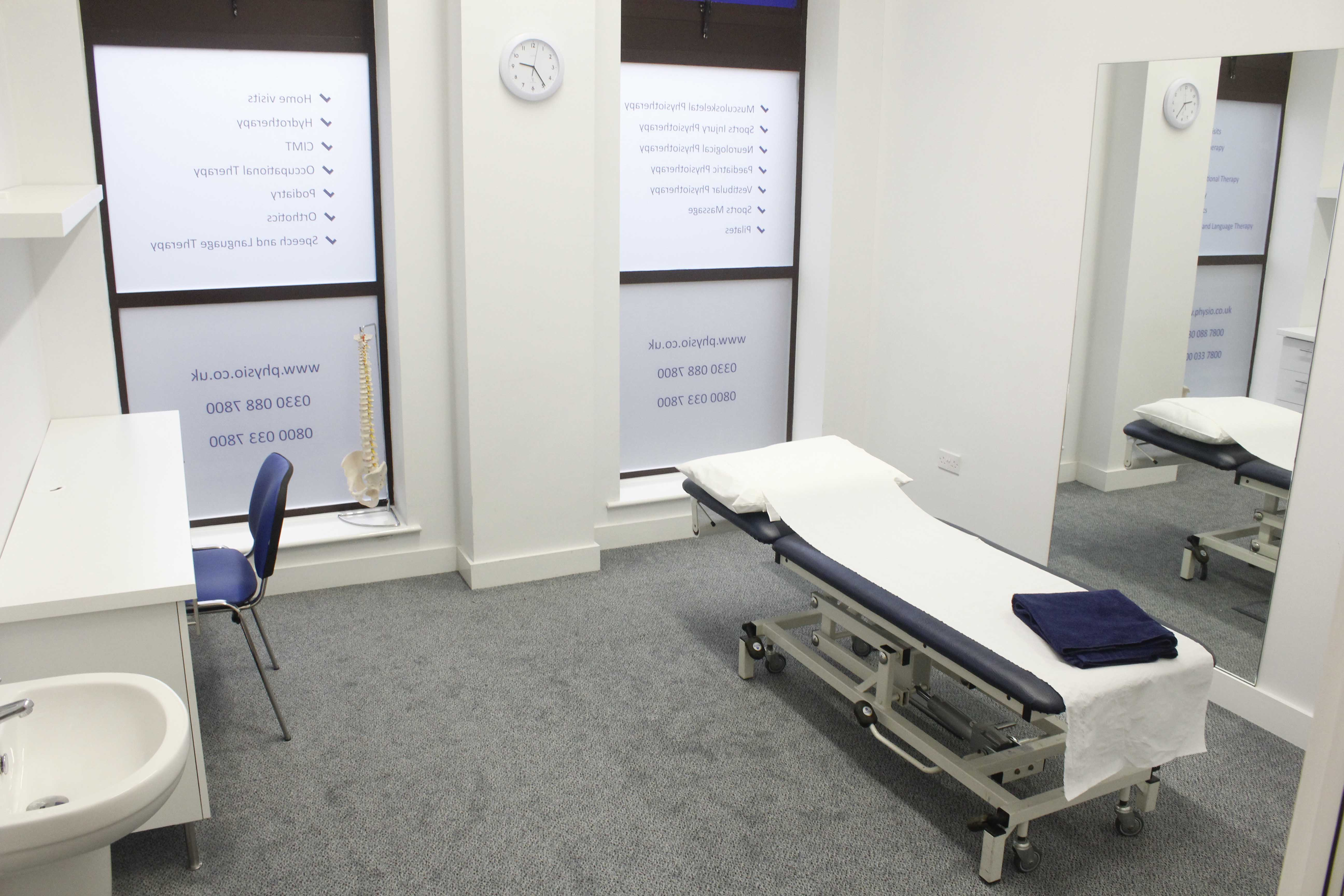 Dedicated specialist Podiatry treatment room at our Minshull Street clinic.