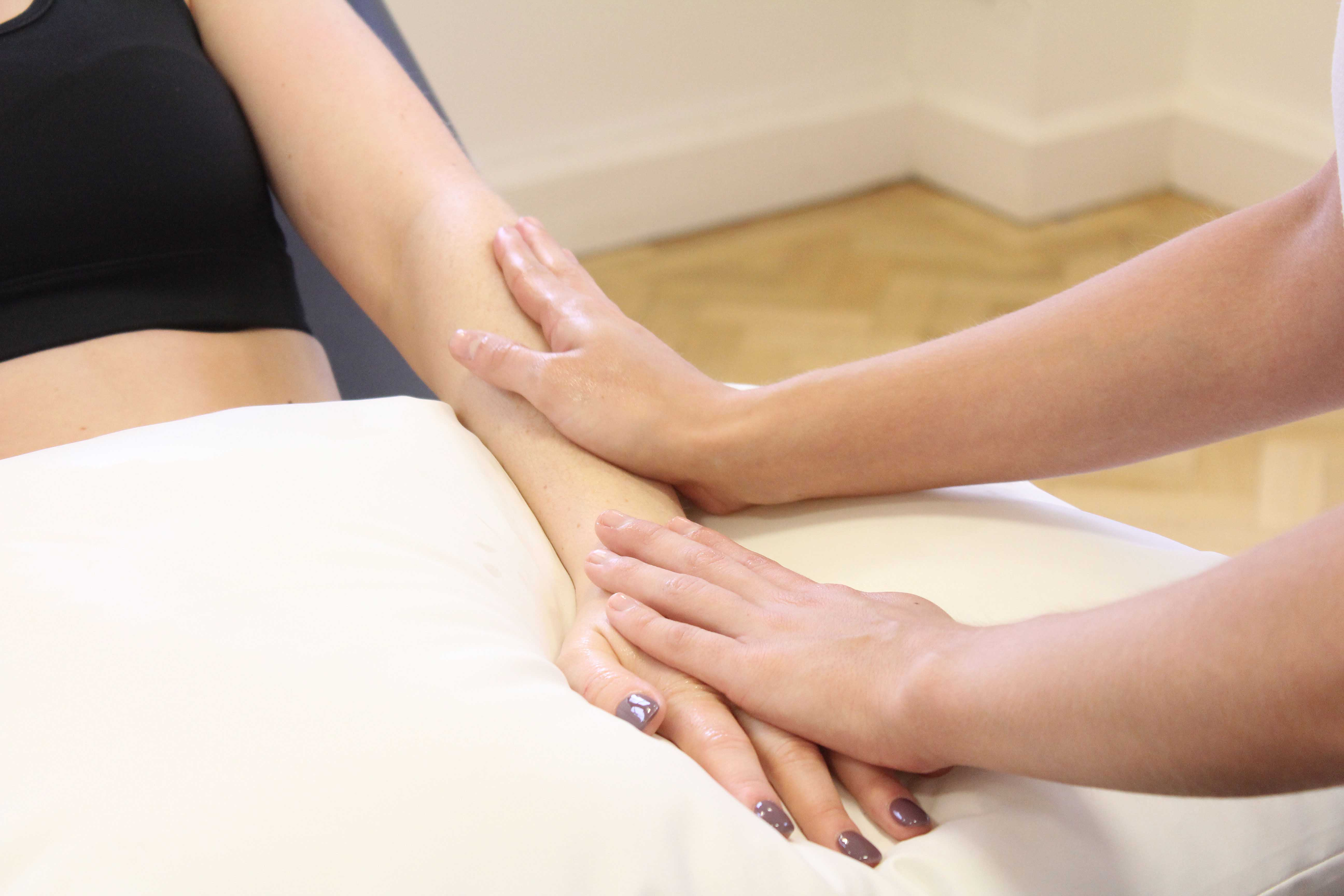 Massage to push excess fluids towards the lymphatic nodes where they can drain