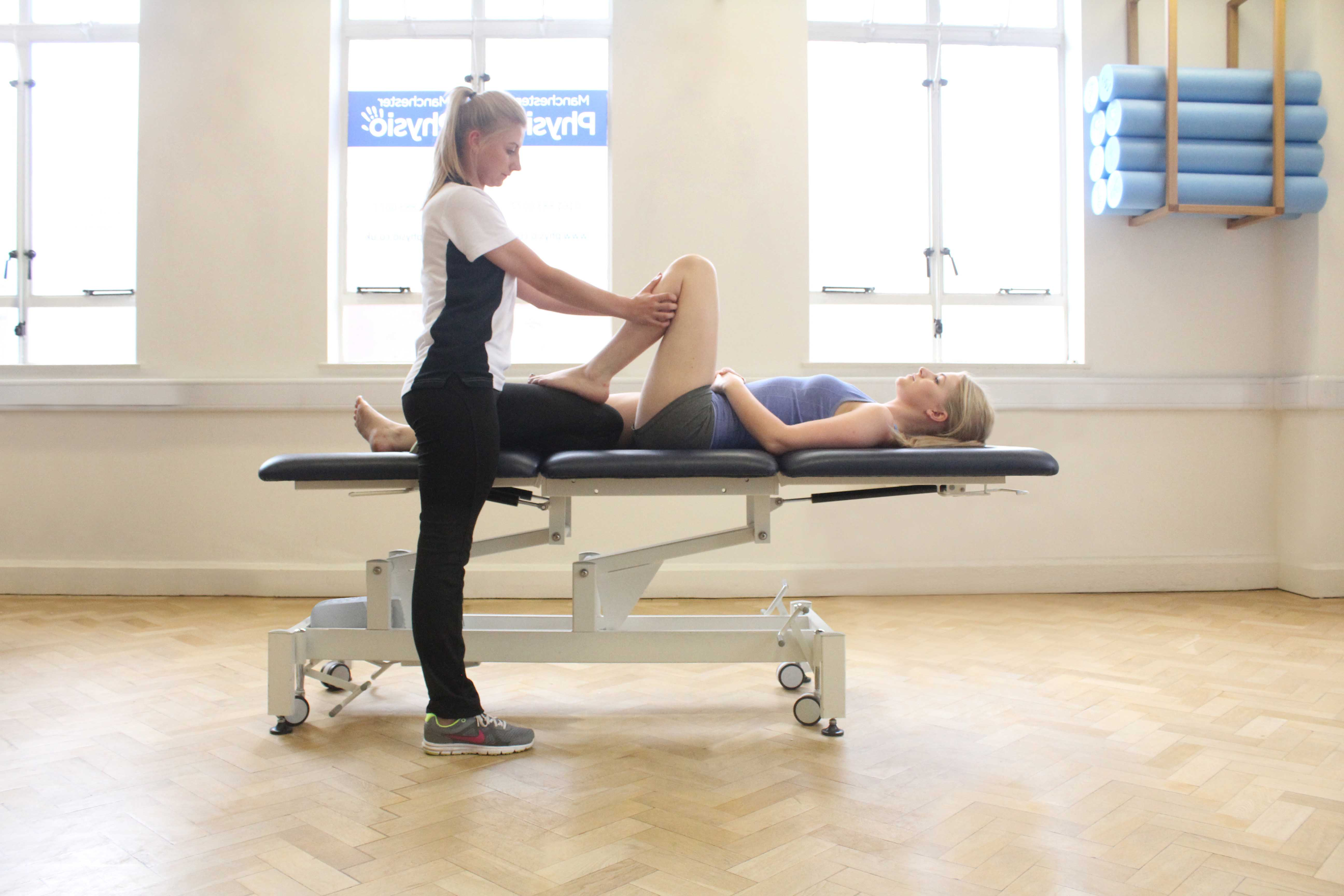 Massage and mobilisations of the knee joint by specialist physiotherapist