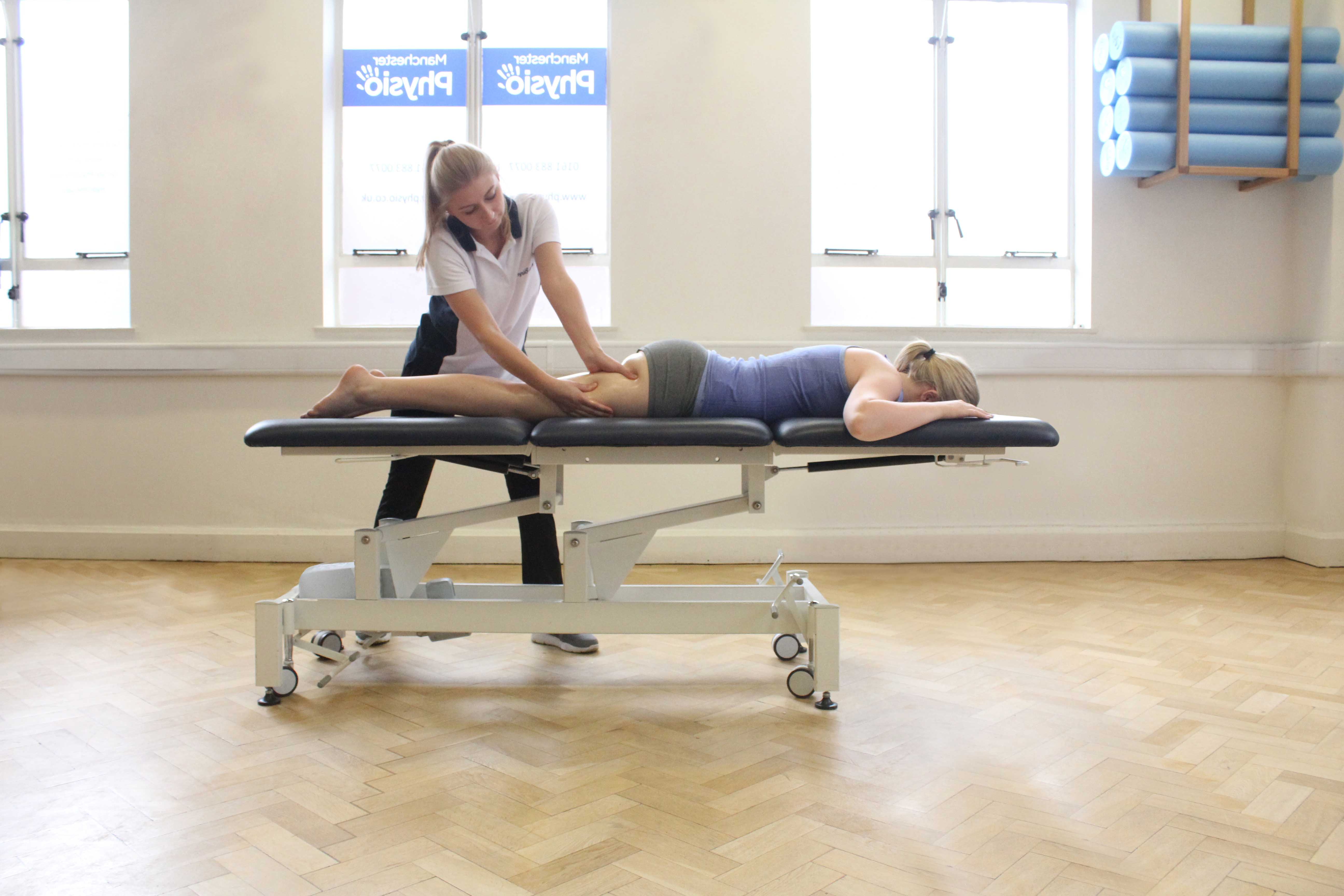 Soft tissue massage applied to the hamstring muscles following sports