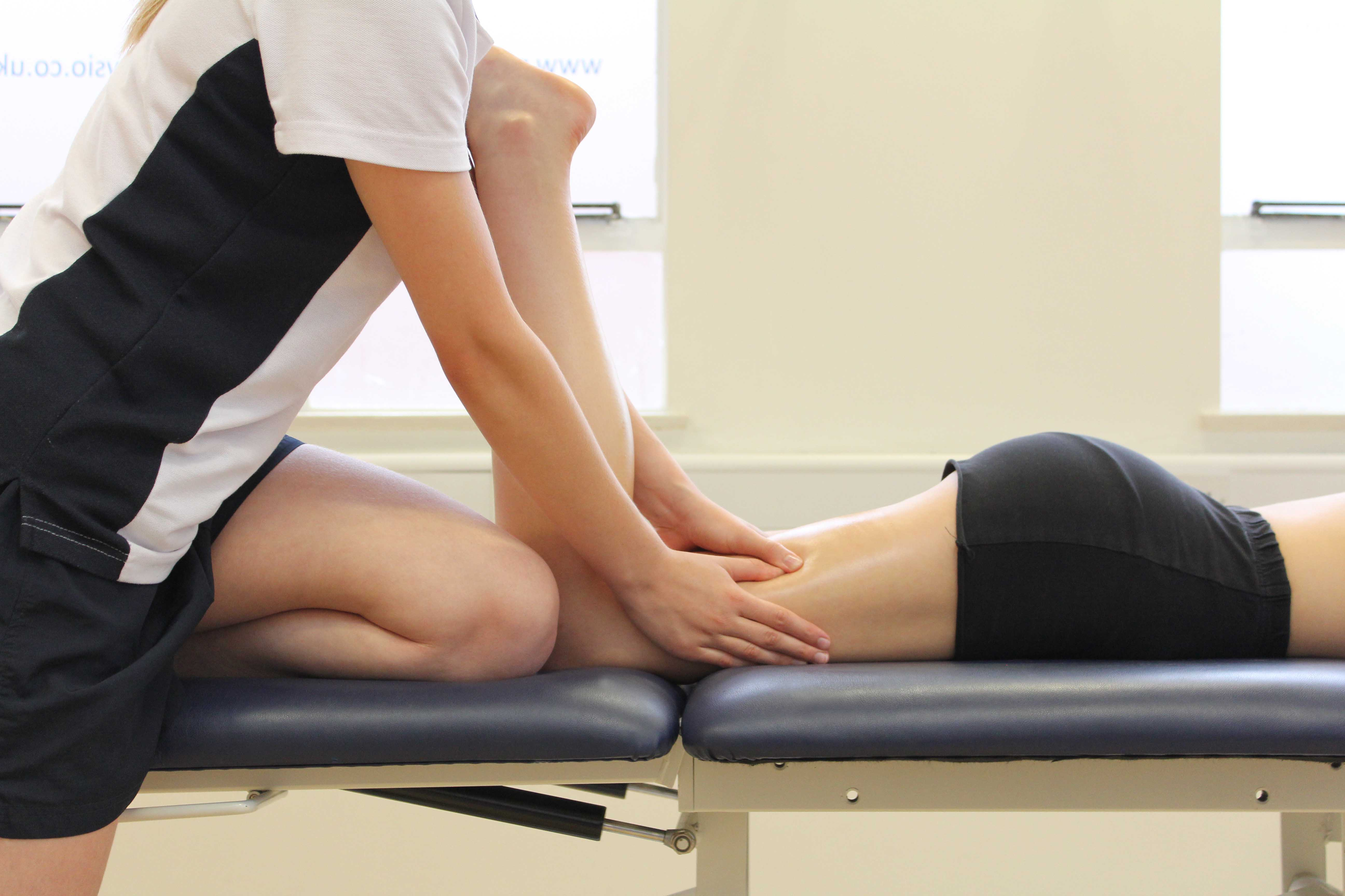 Trigger point massage of the hamstring muscles by an experienced physiotherapist