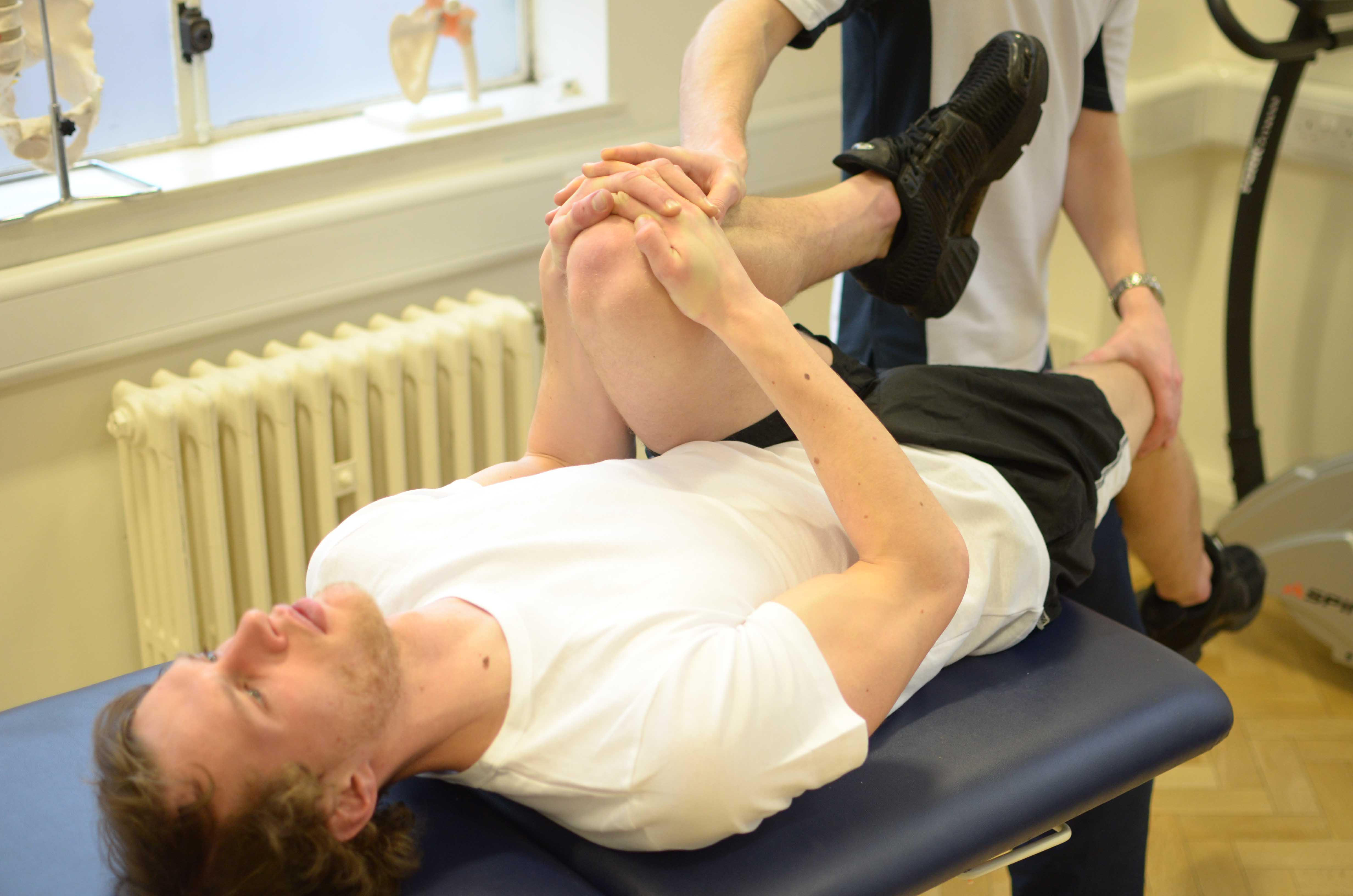 Active stretches assisted by the physiotherapist to lengthen and stabalise muscle tissue