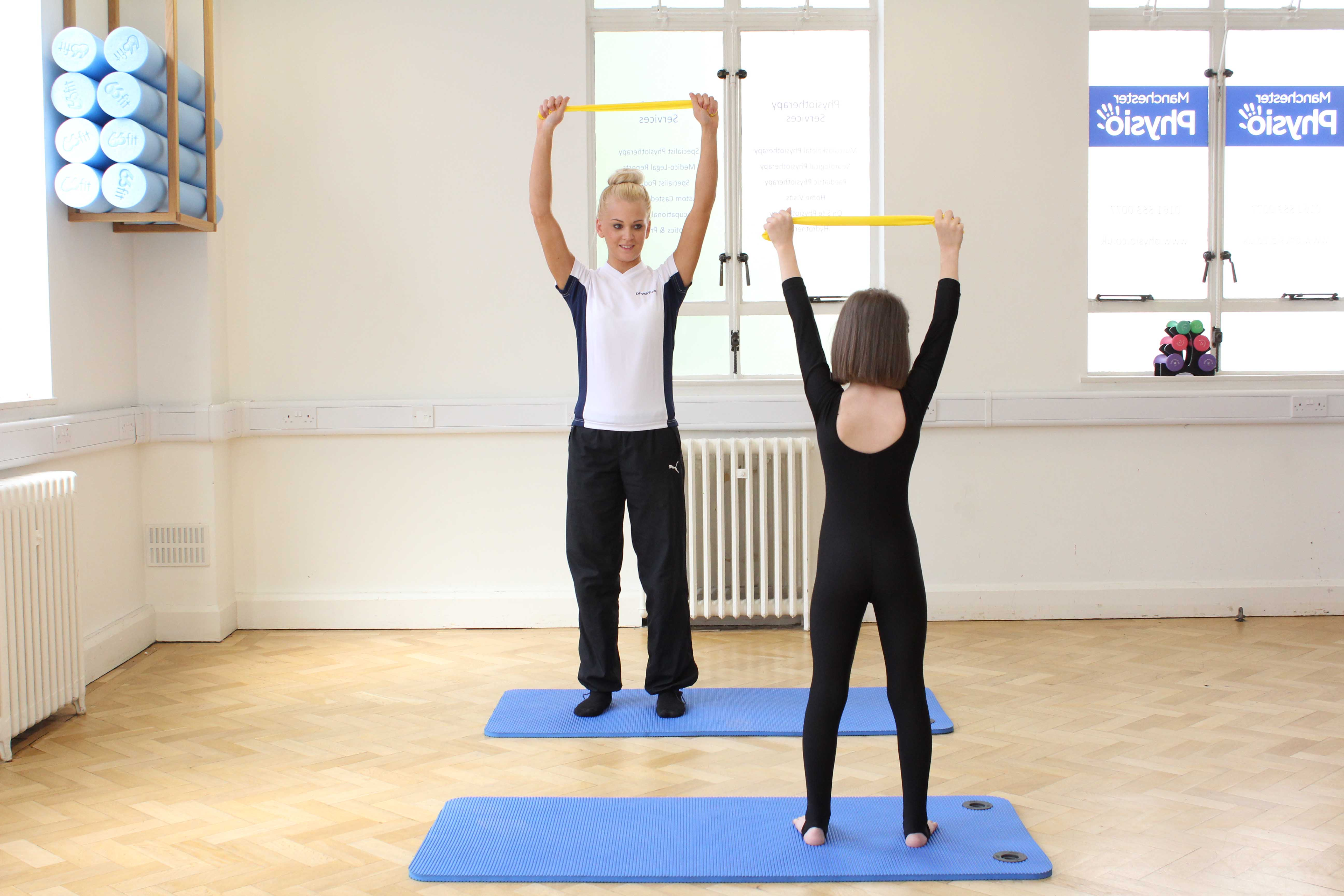 Stretch and strengthening exercises supervised by a specialist paediatric physiotherapist
