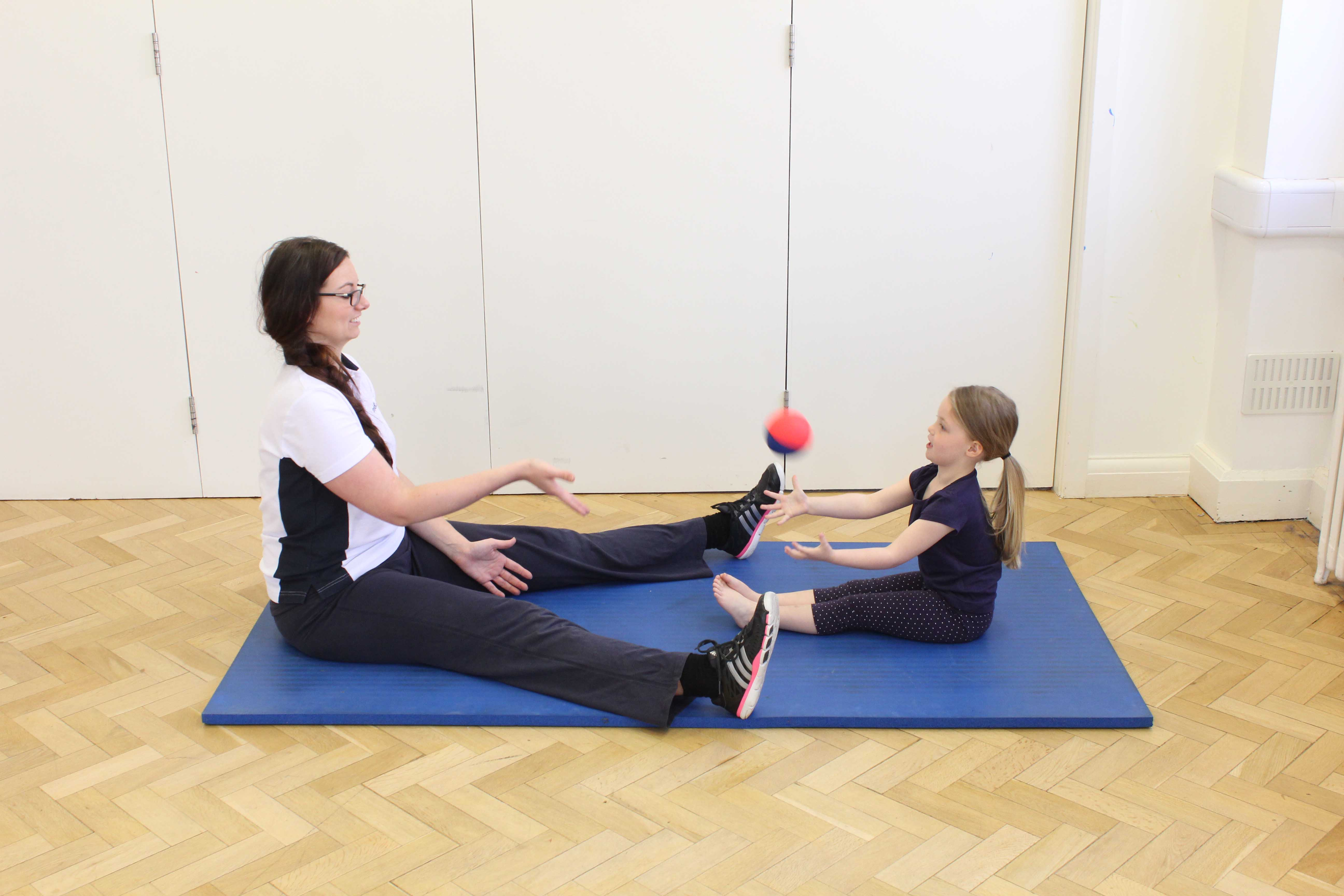 Gross motor skill exercises supervised by a specilaist neurological physiotherapist