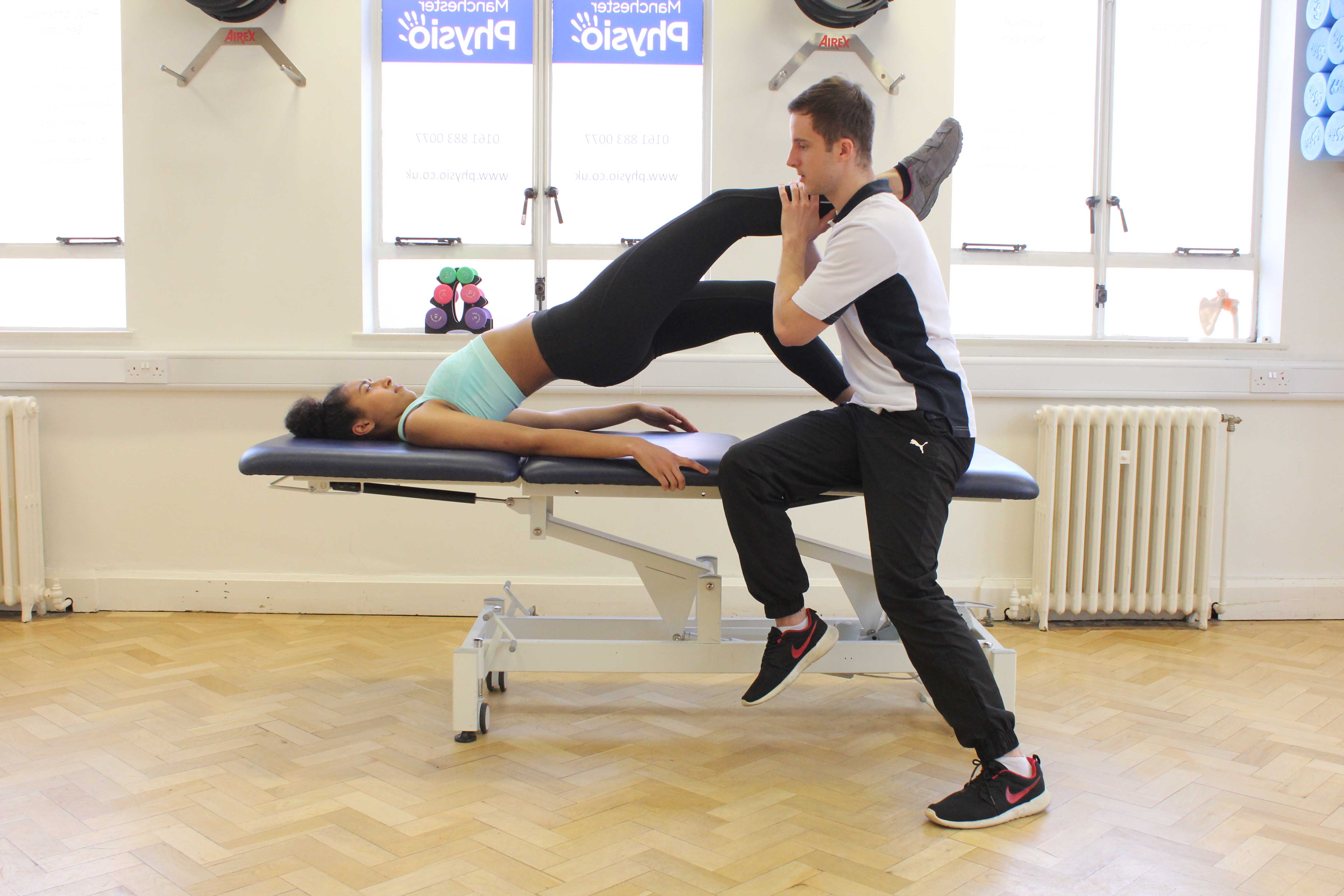 Progressive strengthening hip exercises supervised by experienced therapist