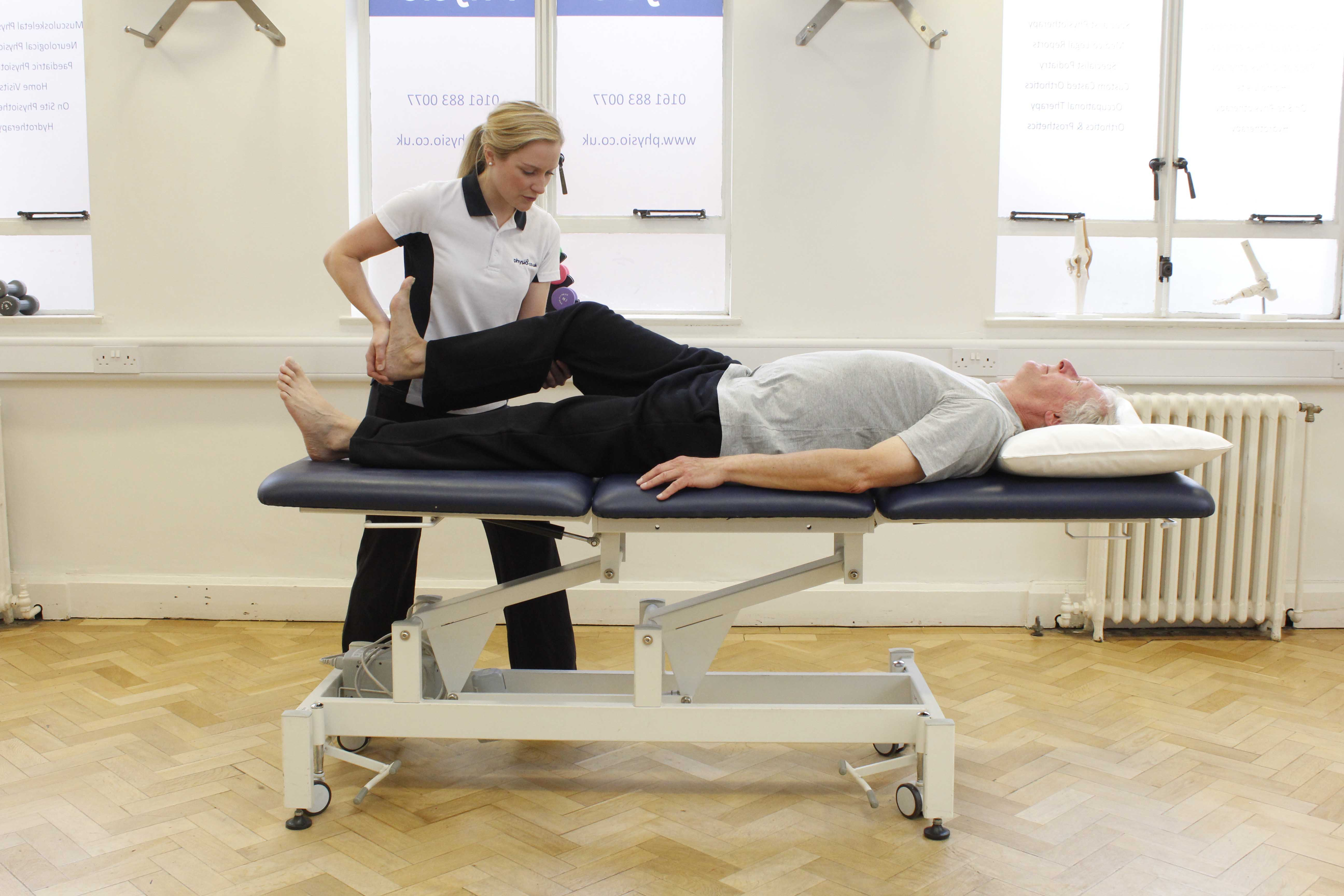 Moblisations and stretches of the hip, knee and ankle by an experienced physiotherapist
