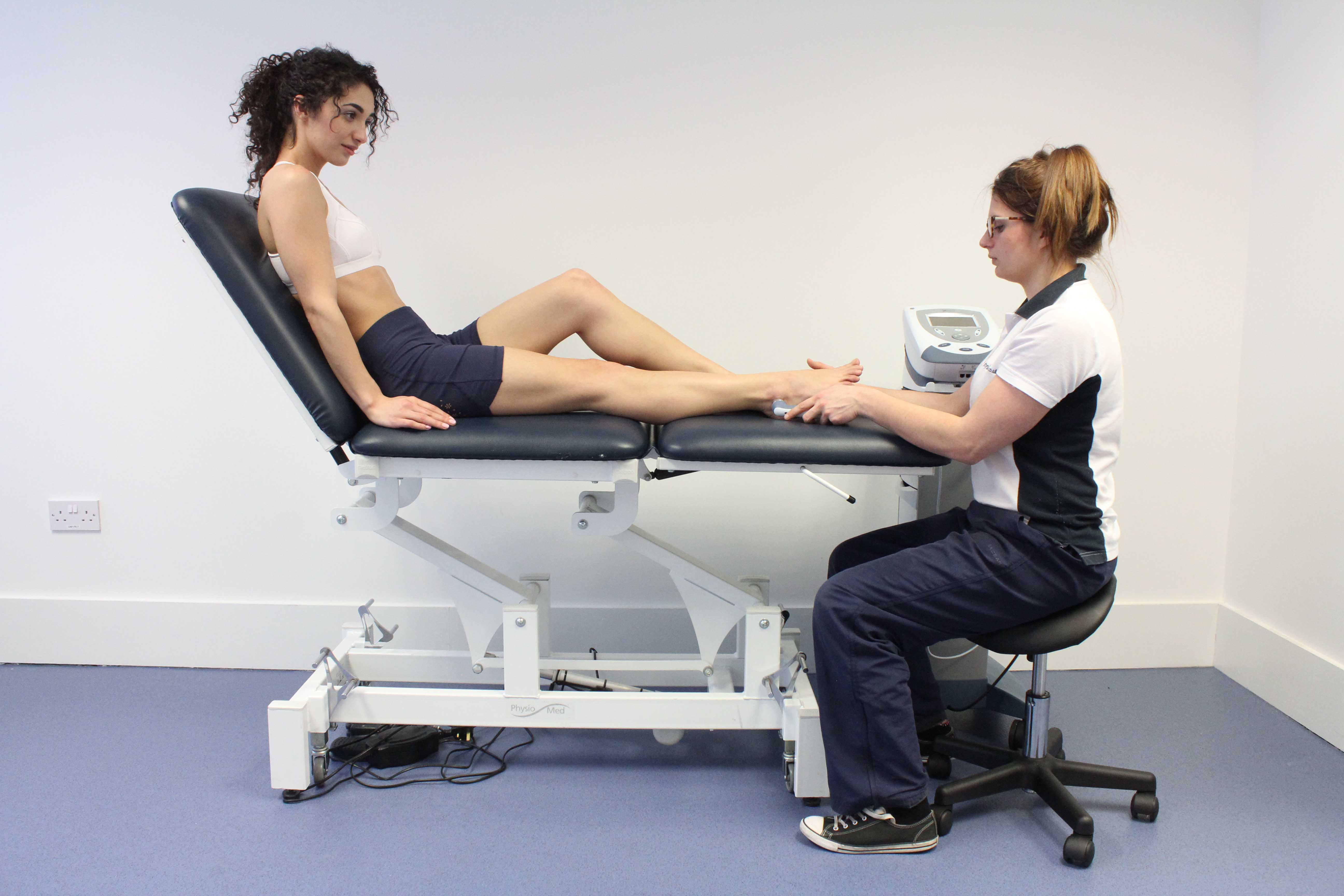 Ultrasound electrotherapy applied to the soft tissues of the foot and ankle