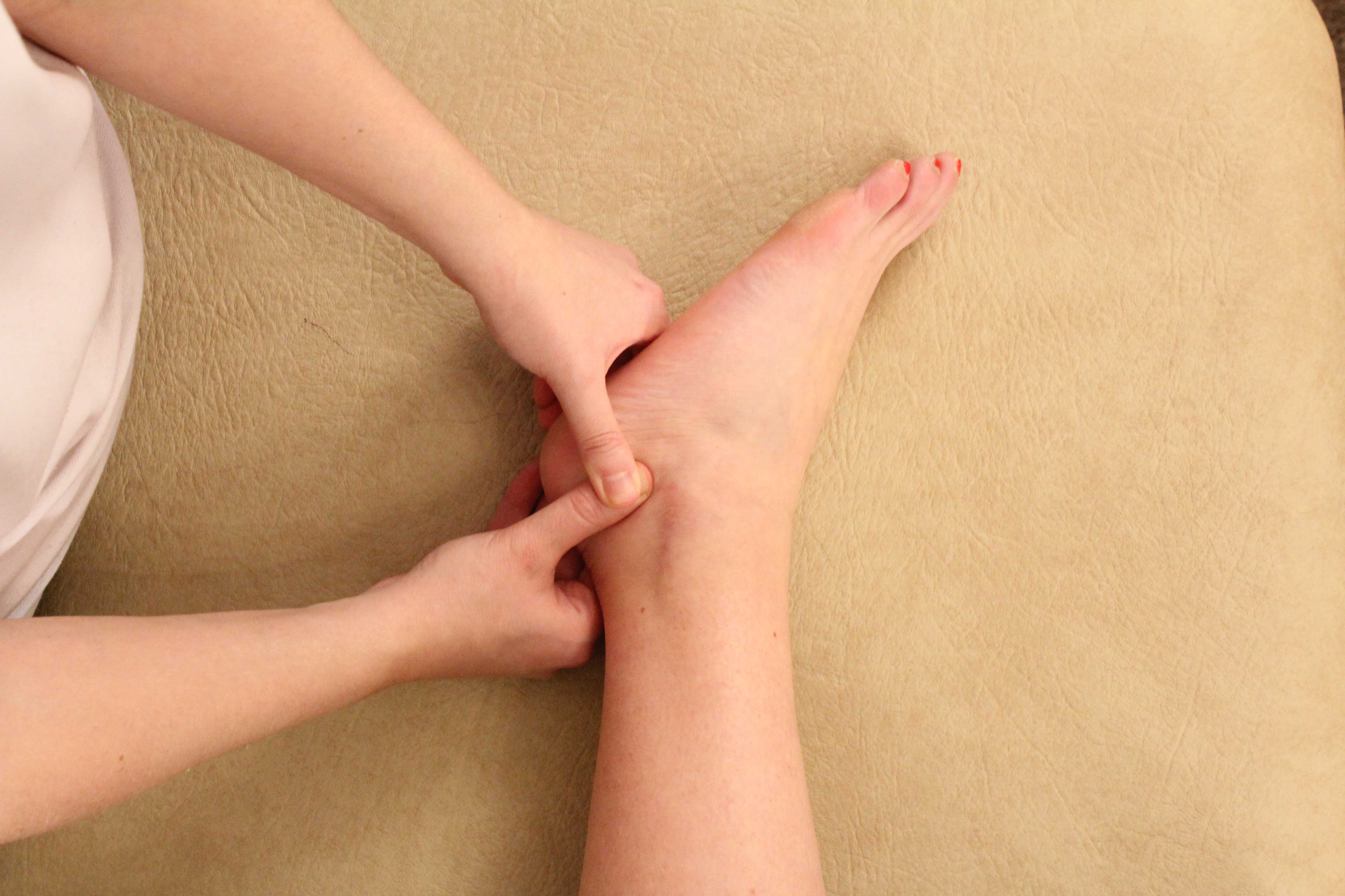 Friction massage of the ligaments in the foot