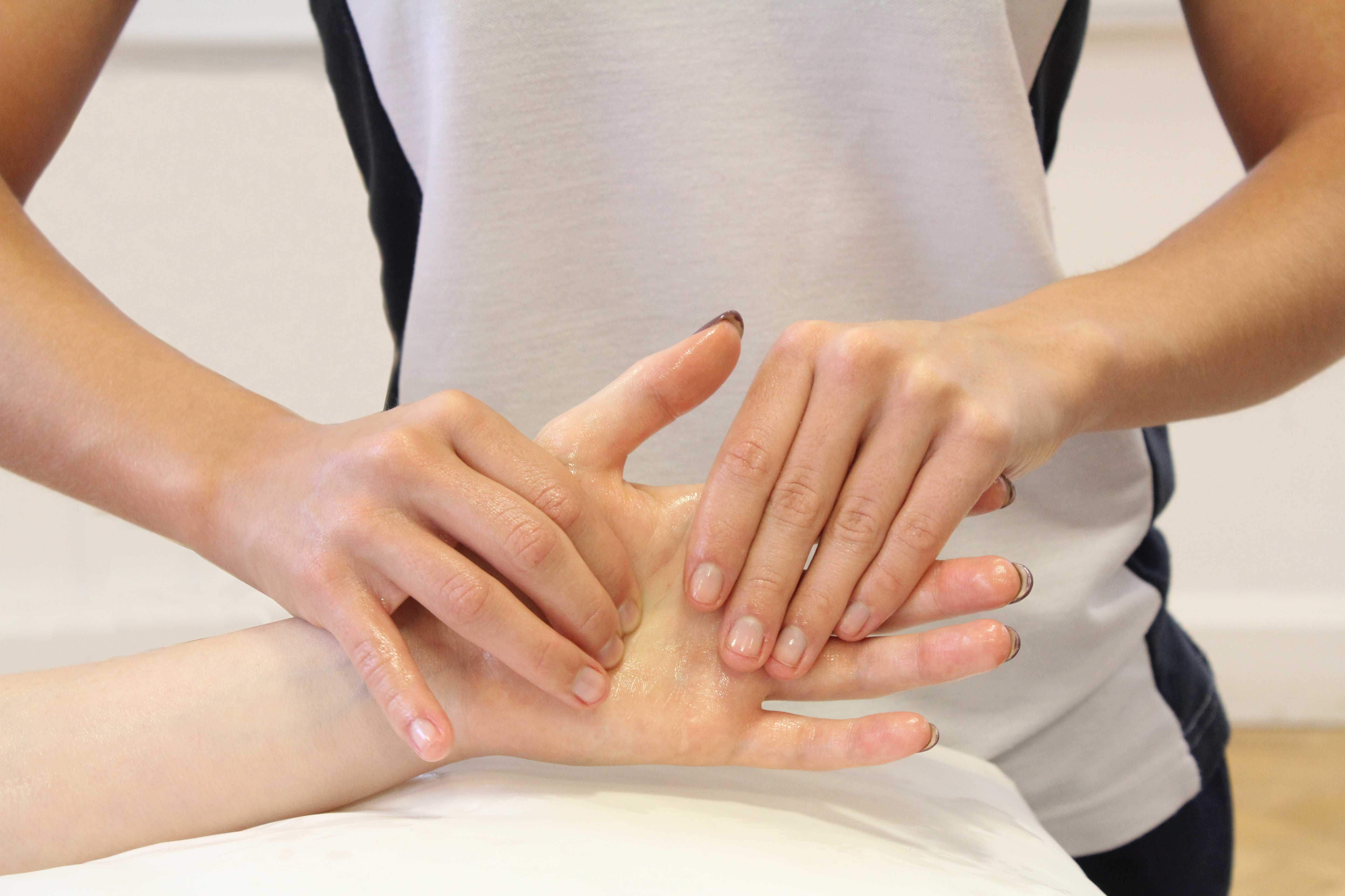 Soft tissue massage and mobilisations of the palm and fingers by a specialist therapist