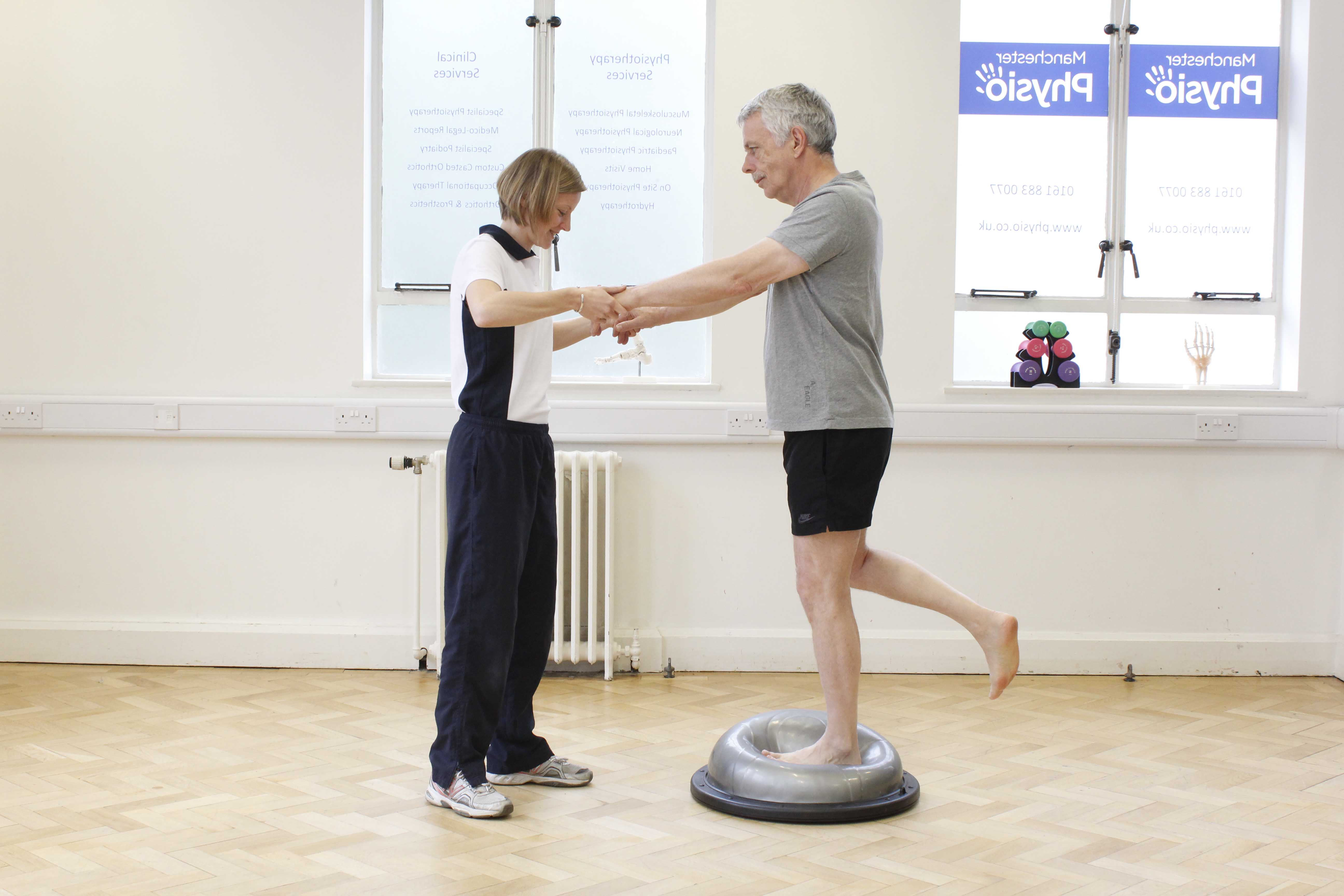 Hip, knee and ankle stability and proprioception exercises assisted by a neurological physiotherapist