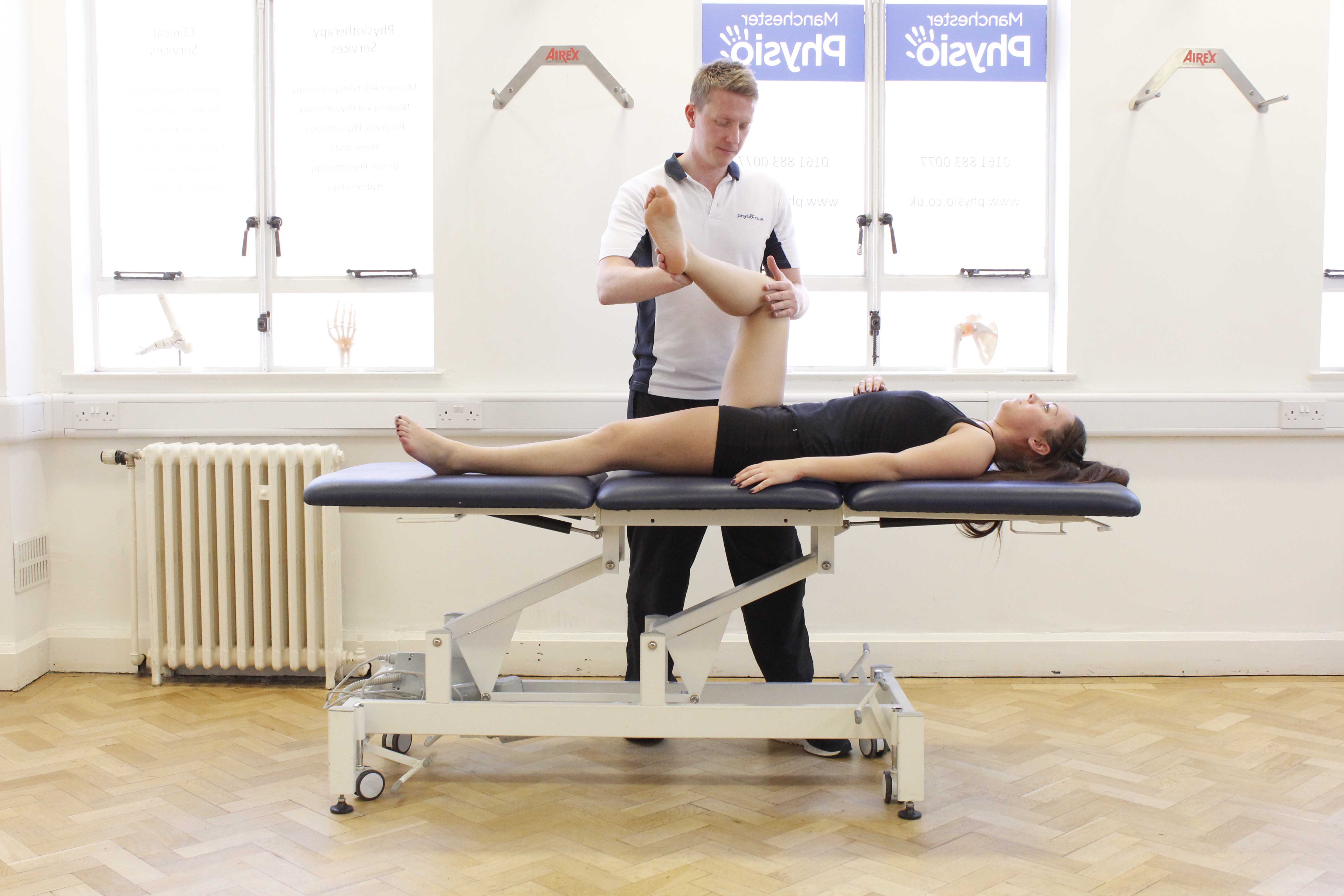 Mobilisations of the knee joint during an assessment by a MSK therapist