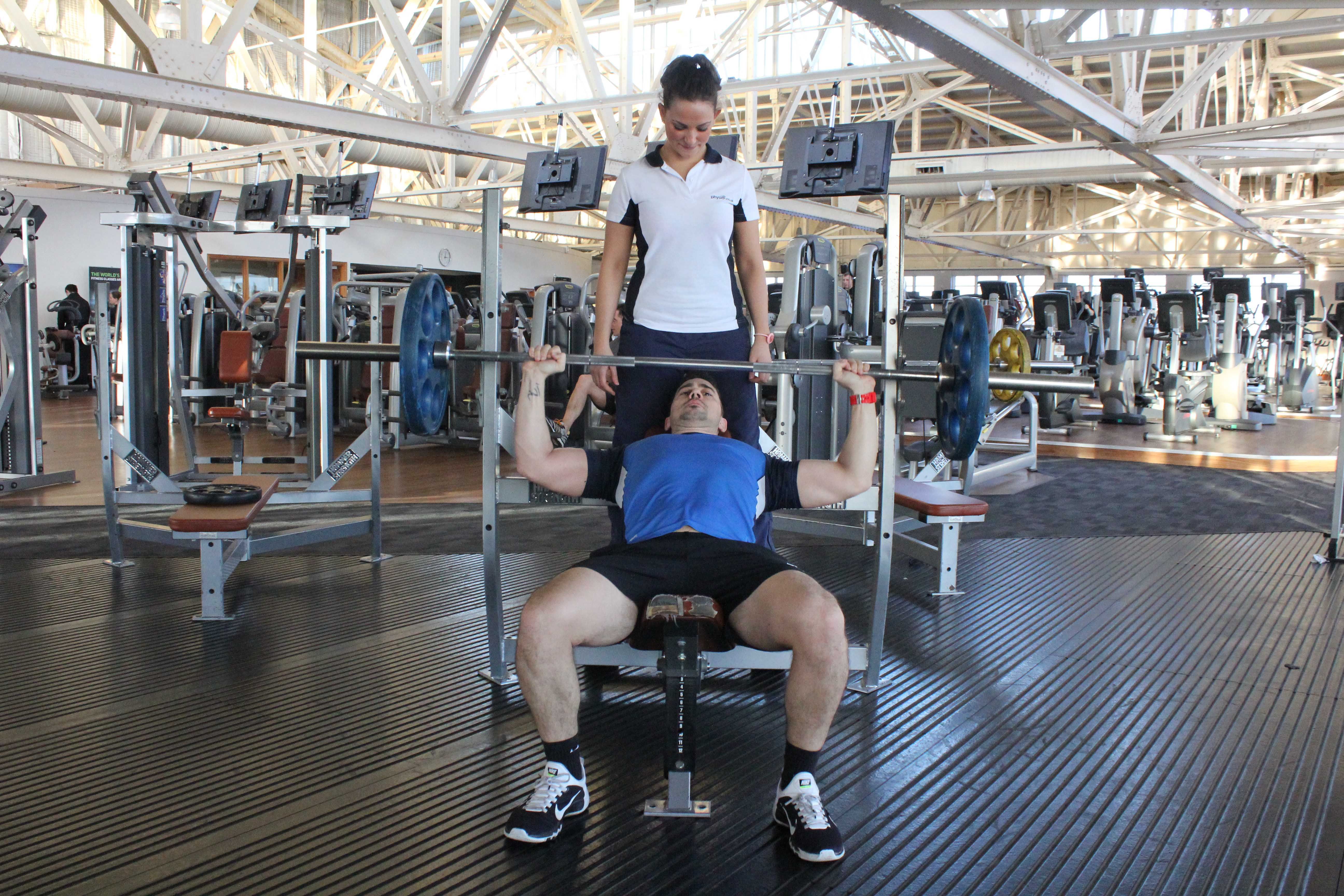 Progressive strength training for the chest muscles supervised by specialist MSK physiotherapist