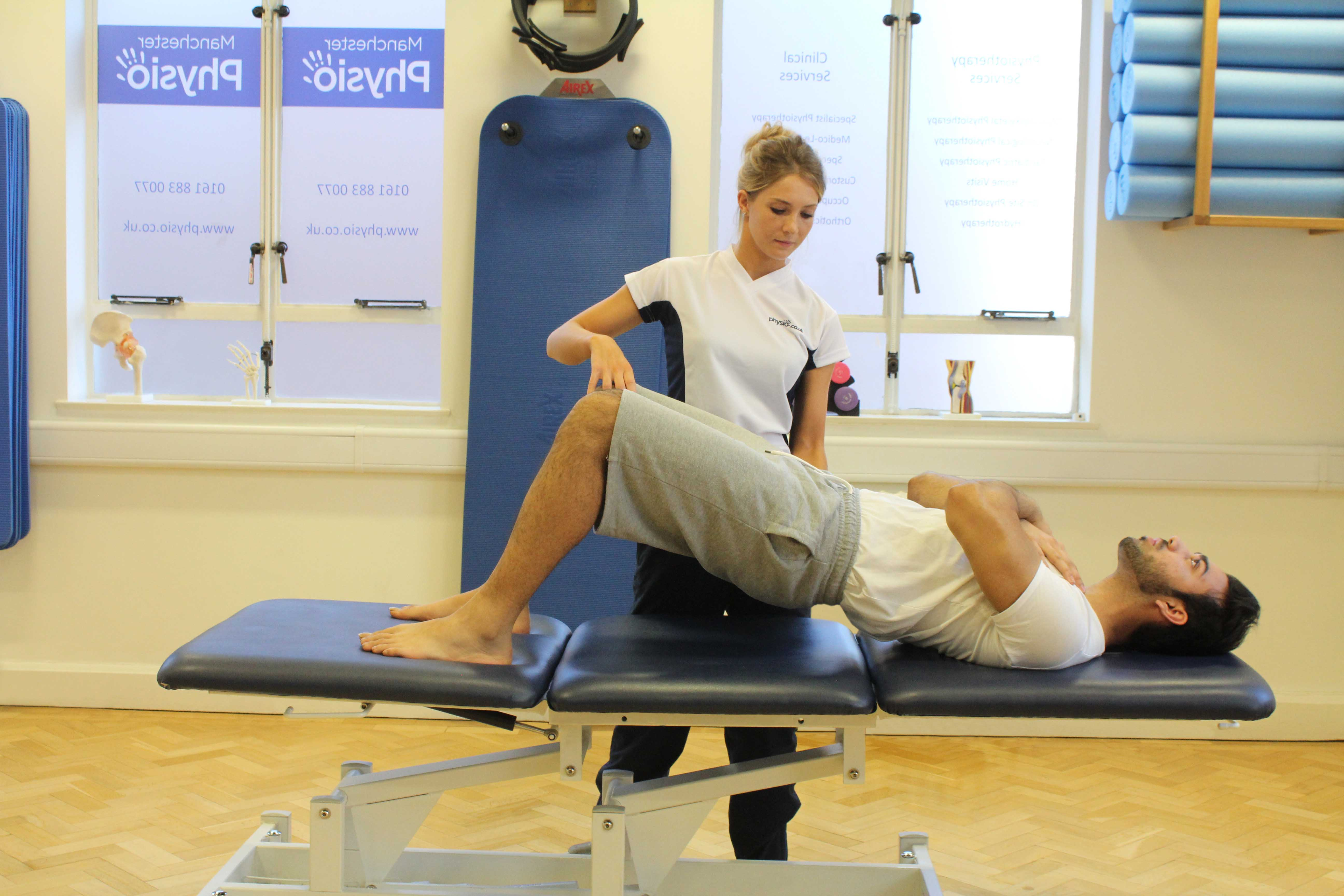 Strengthening exercises for the pelvic muscles supervised by MSK therapist