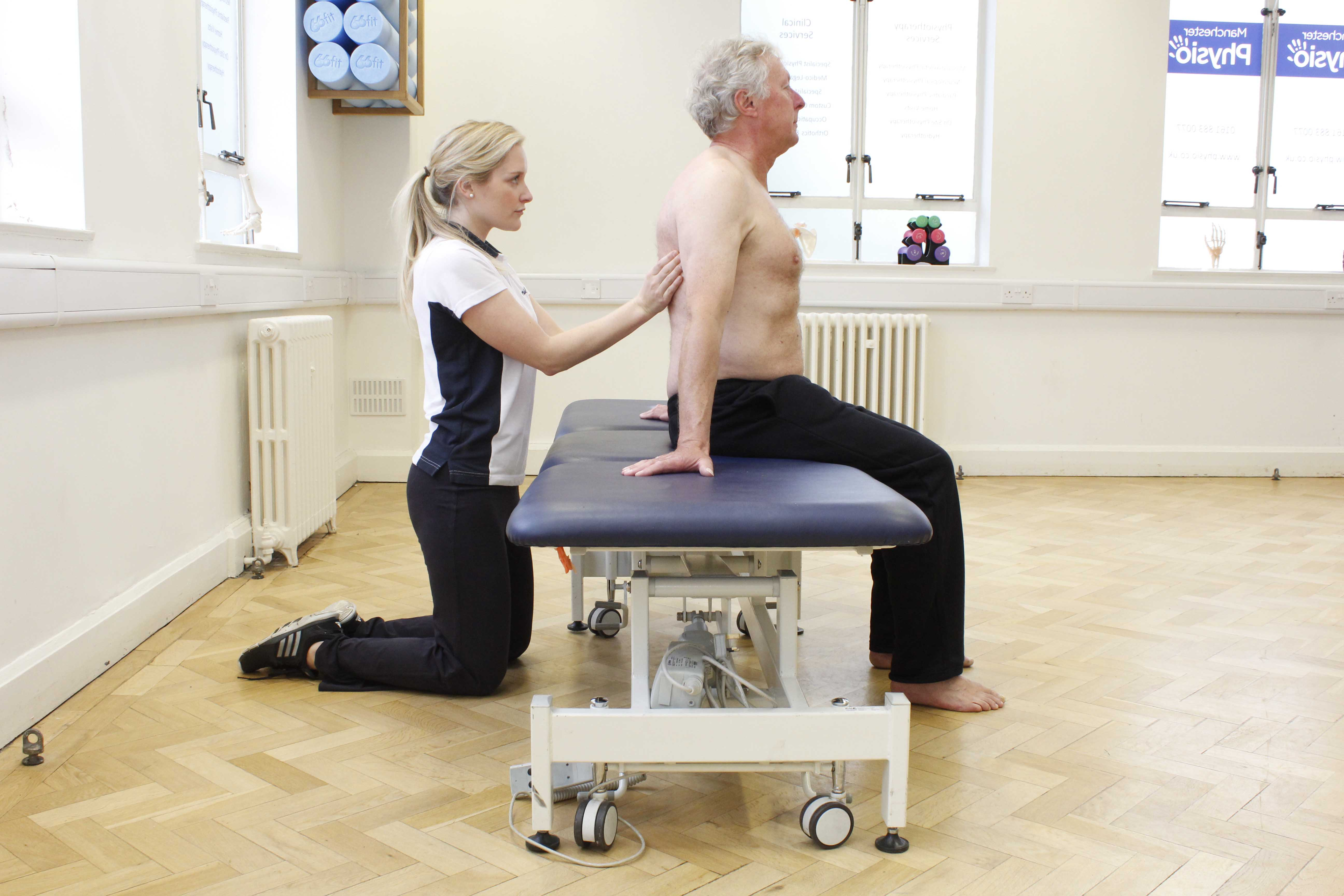 Active cycle of breathing exercises  and postural drainage exercises supervised by a specialist physiotherapist