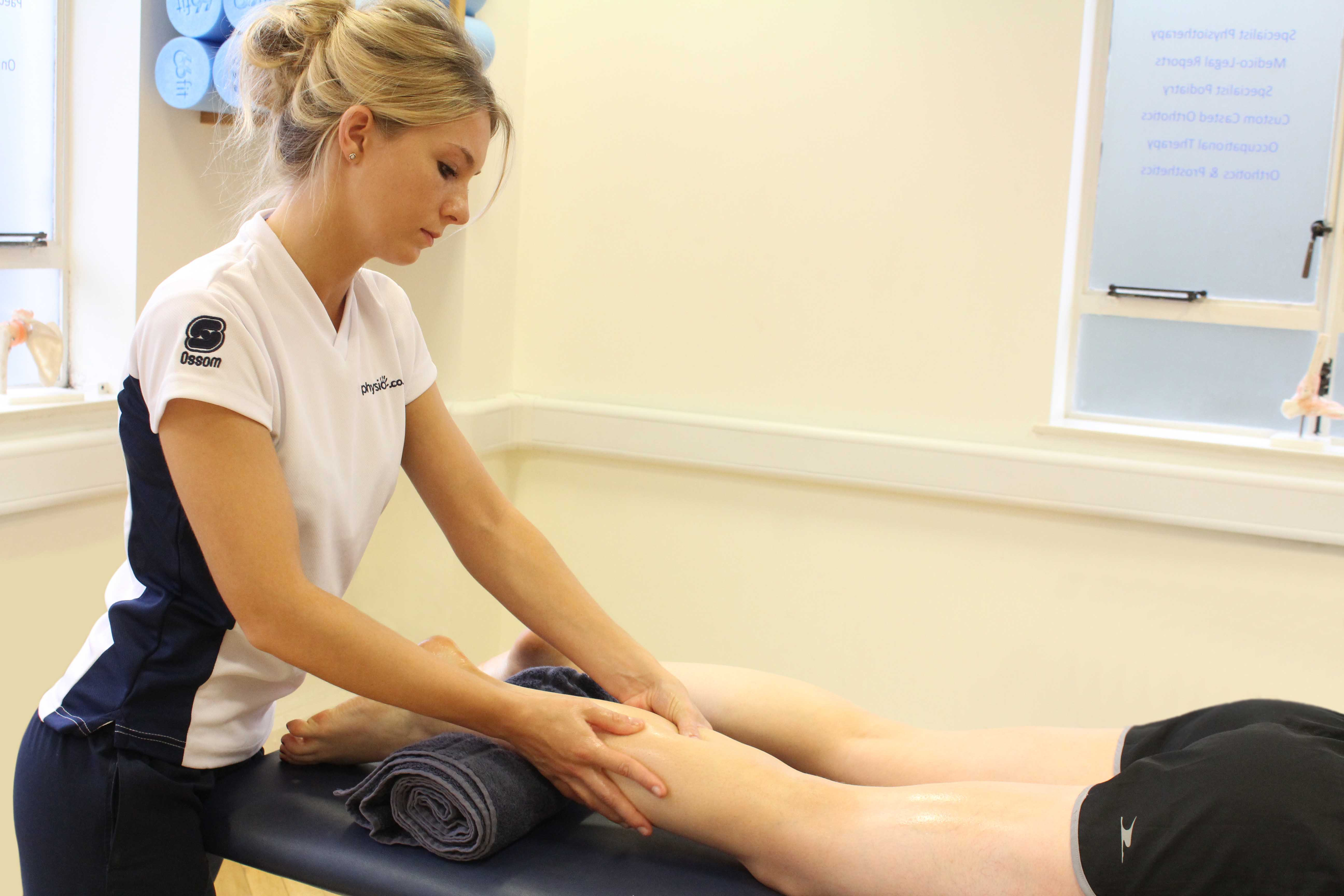 Deep tissue massage of the gastrocnemius muscle by specialist MSK therapist