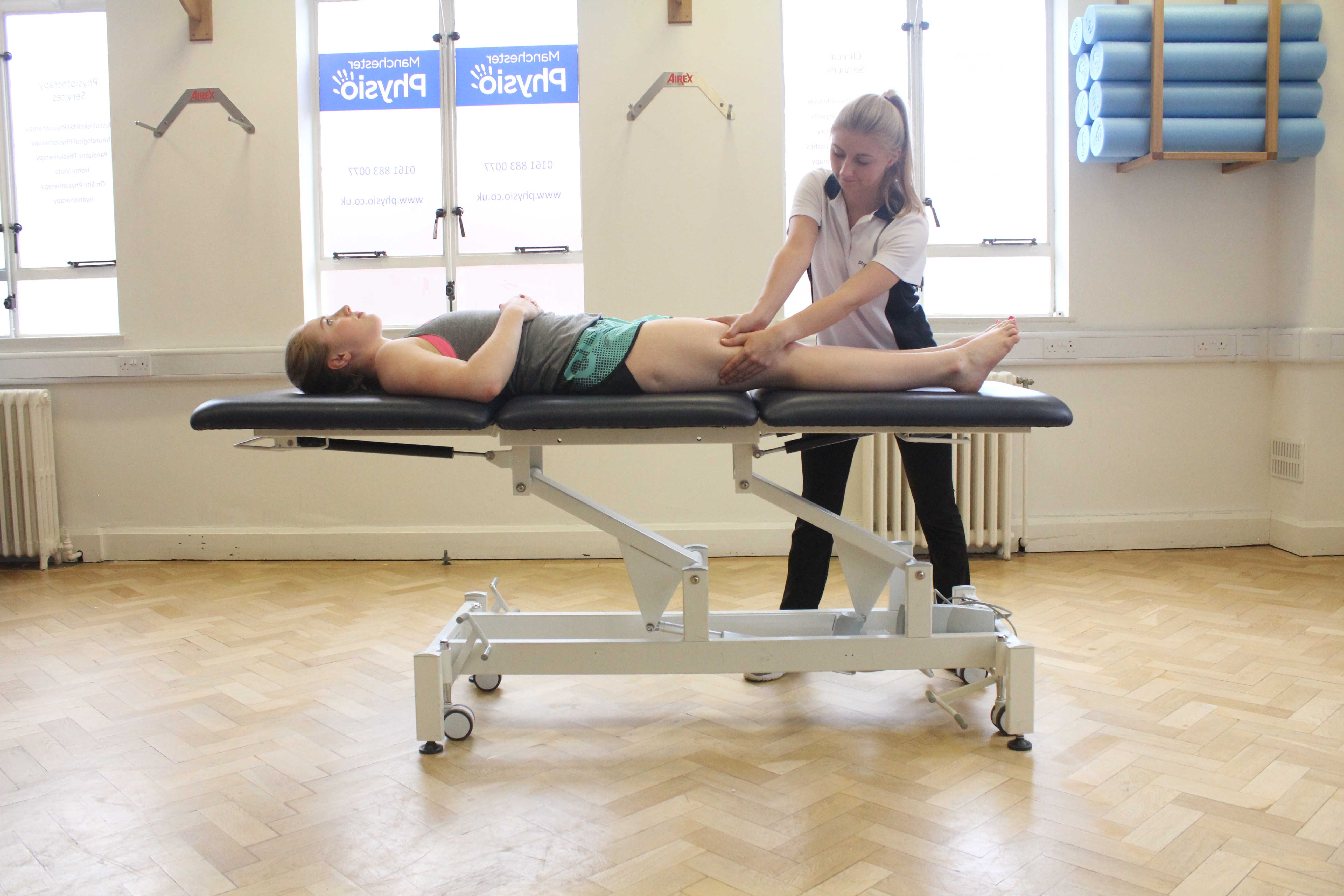 Post event massage targeting vastus lateralis muscle and illio-tibial band