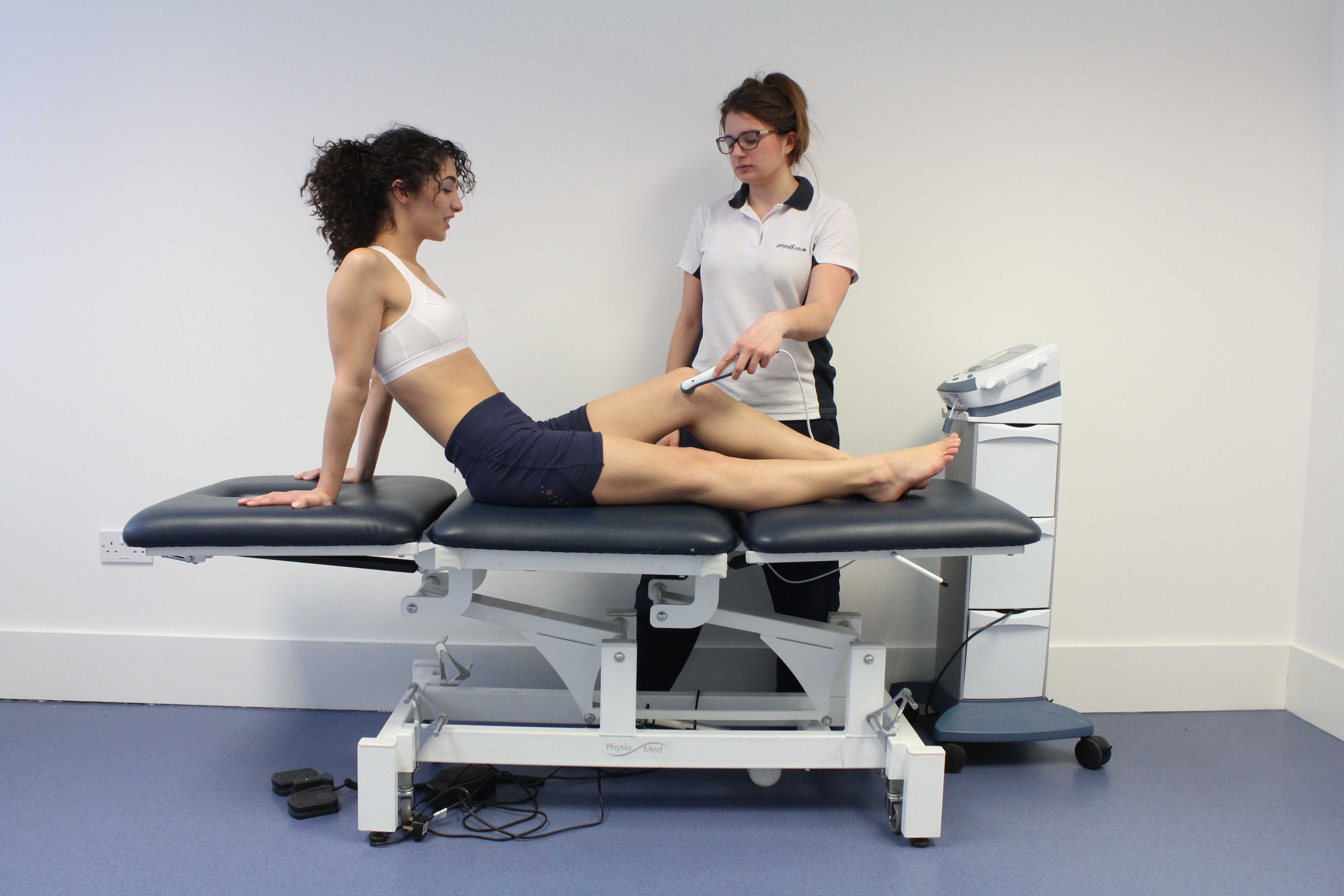 Ultrasound applied to the knee by specialist physiotherapist
