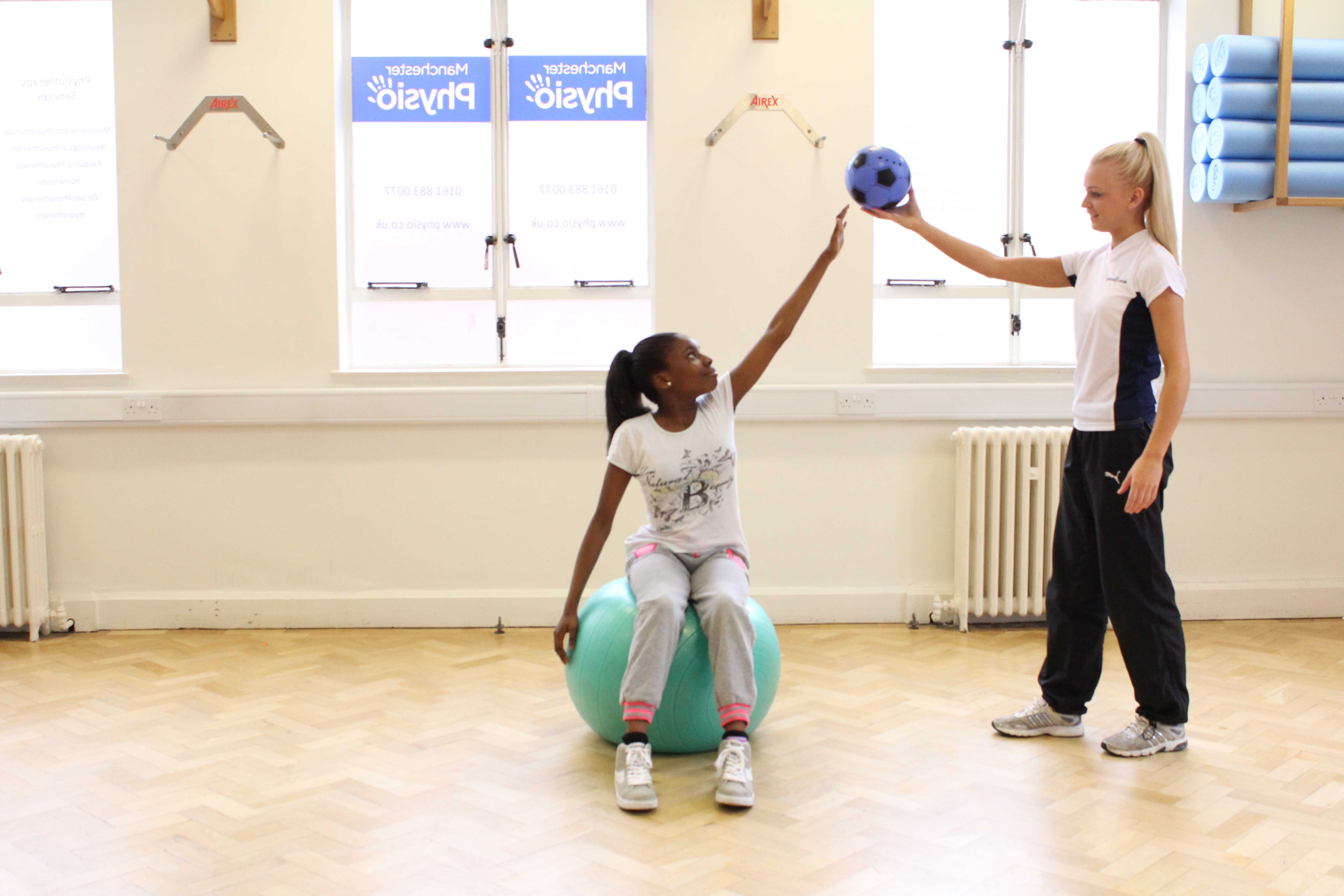 stability and stretching exercises conducted by a paediatric physiotherapist