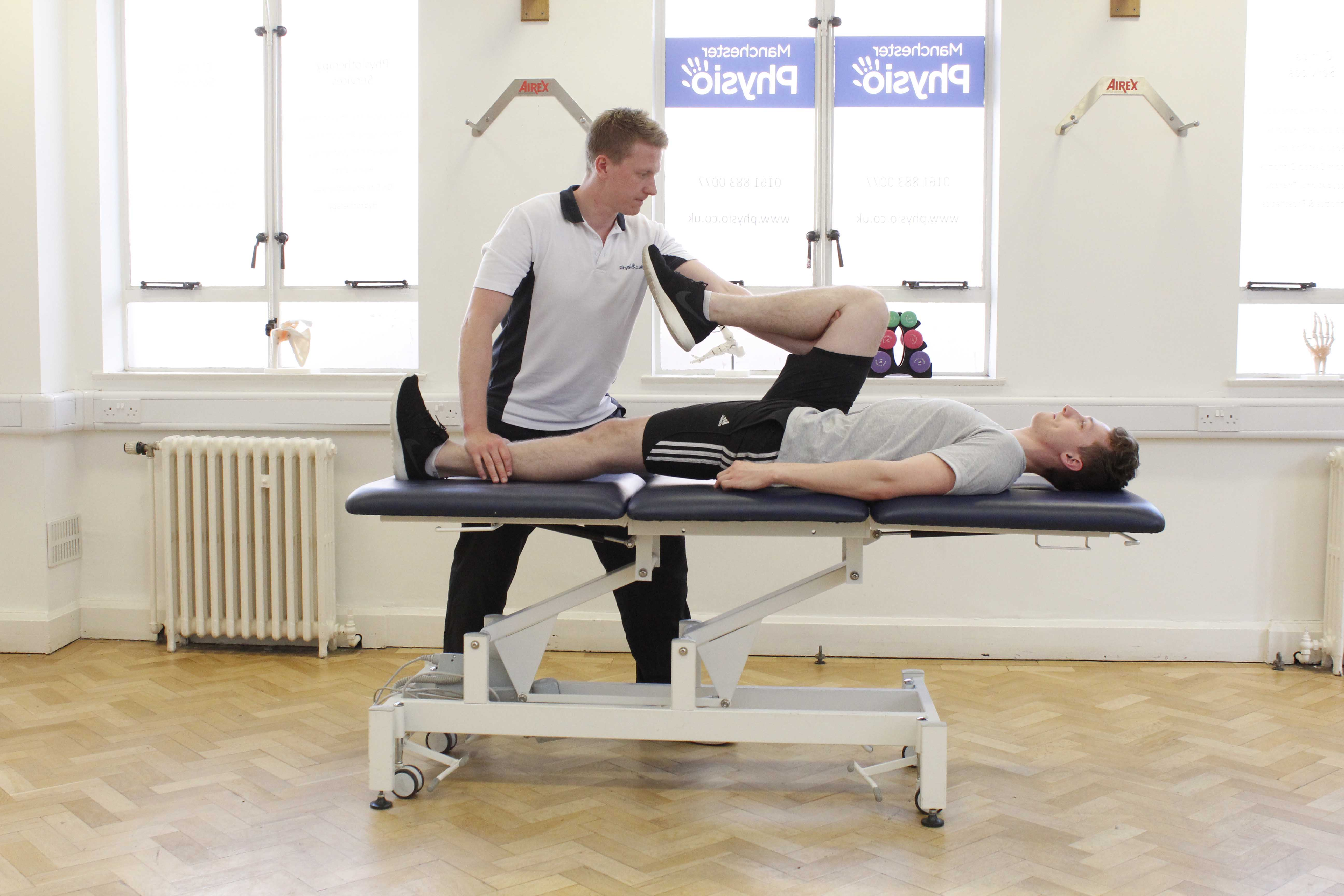 abdominal and pelvic stretch applied by a specialist physiotherapist