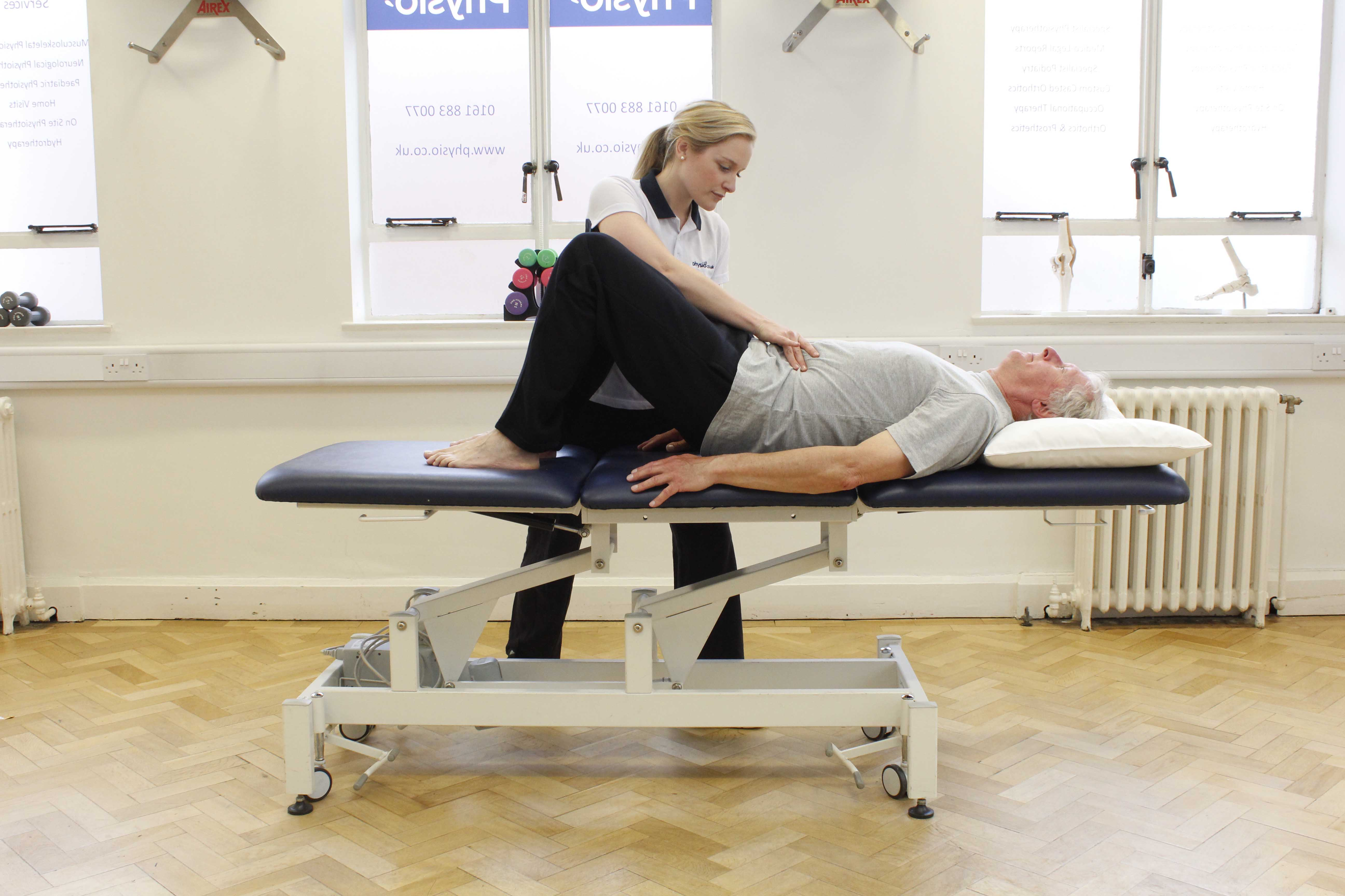 Improving abdominal and pelvic muscle control with assistance from a specialist physiotherapist